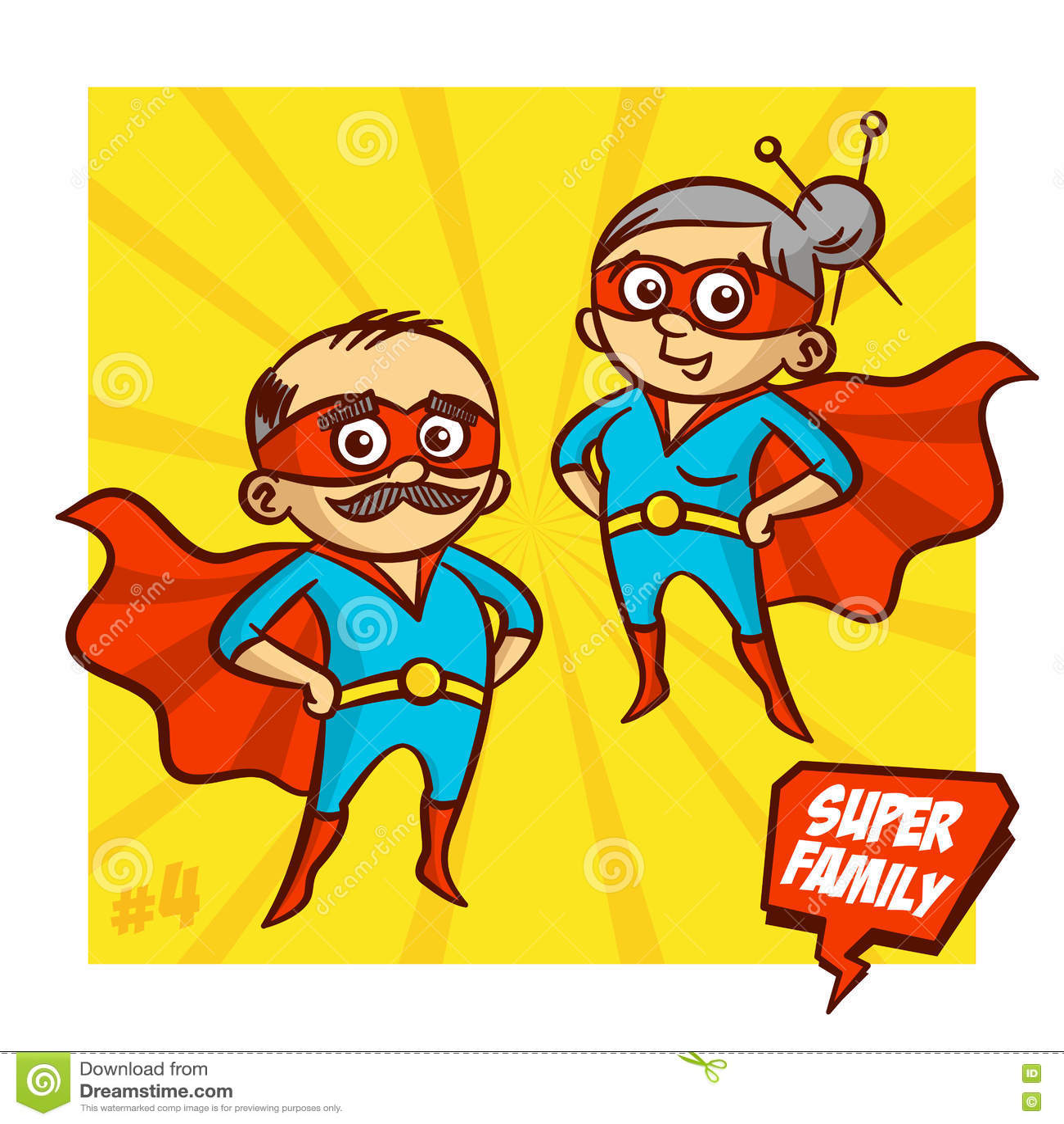 Έξοχη οικογένεια Παππούς και γιαγιά Superheroes Διανυσματικό Illustartion
