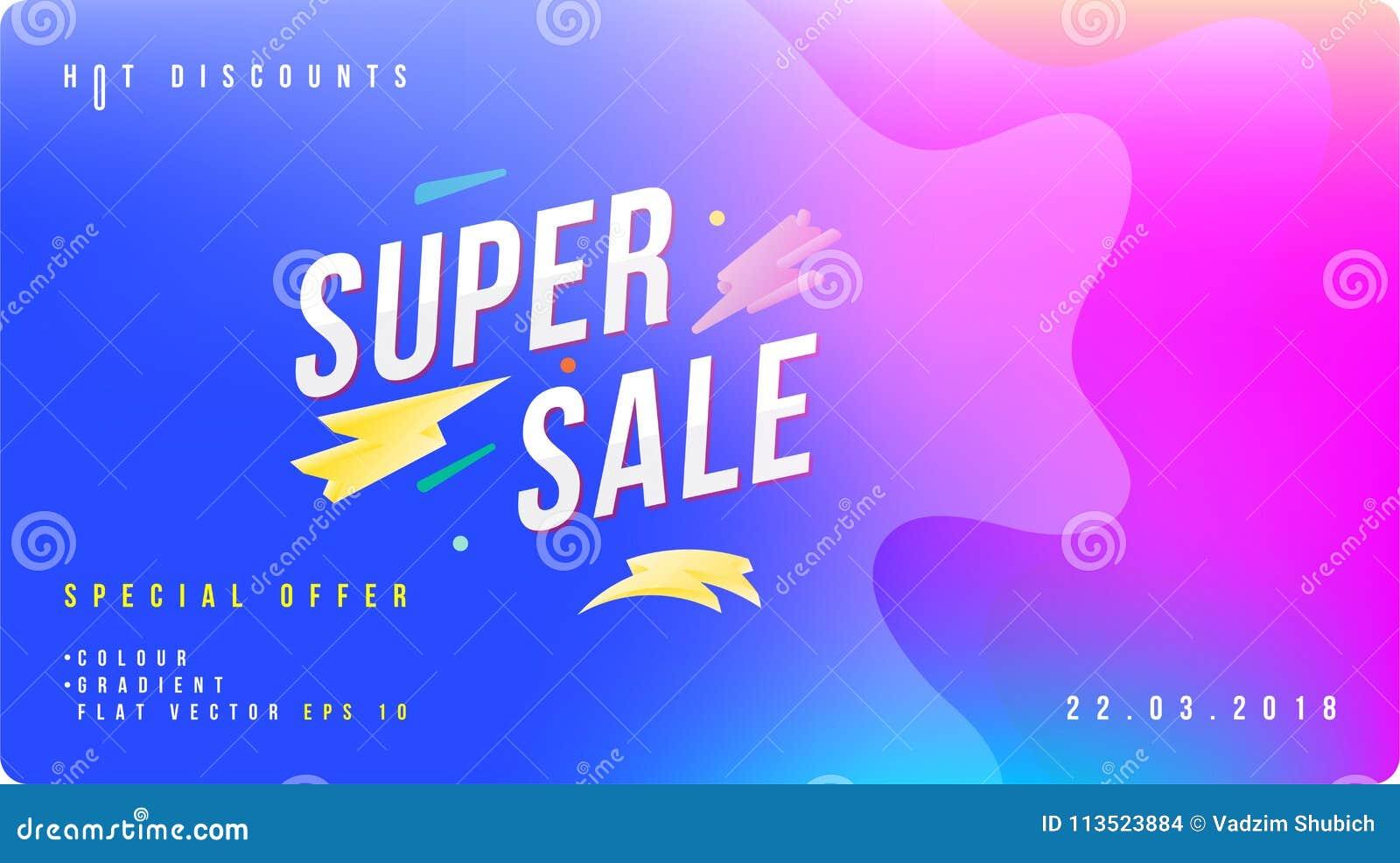Έξοχο έμβλημα έκπτωσης πώλησης με το ρευστό ύφος Πρότυπο για τη διαφήμιση σχεδίου και αφίσα στο υγρό και το υπόβαθρο χρώματος Επί
