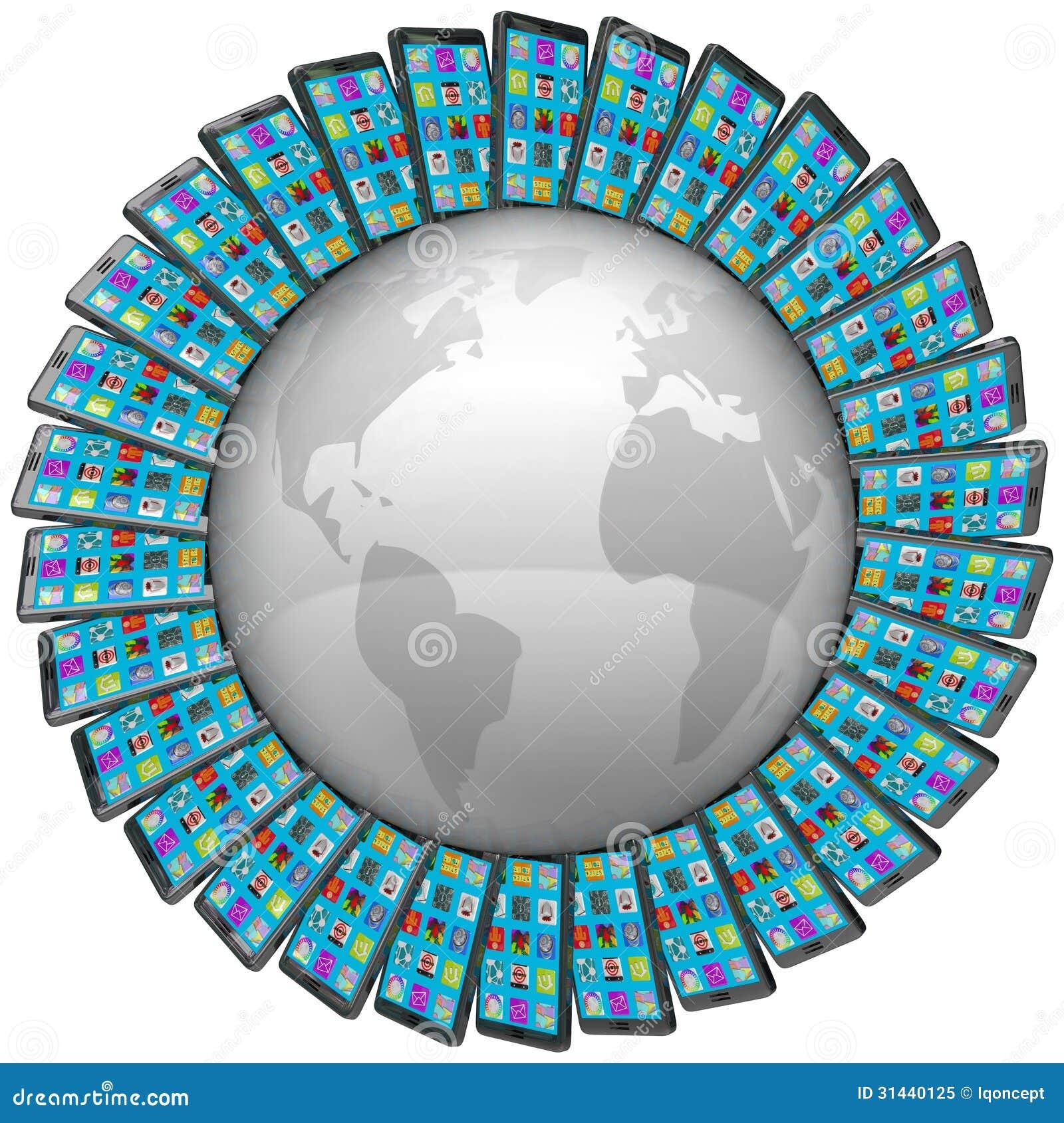 Έξυπνα τηλέφωνα κυττάρων γύρω από τις παγκόσμιες σφαιρικές συνδέσεις