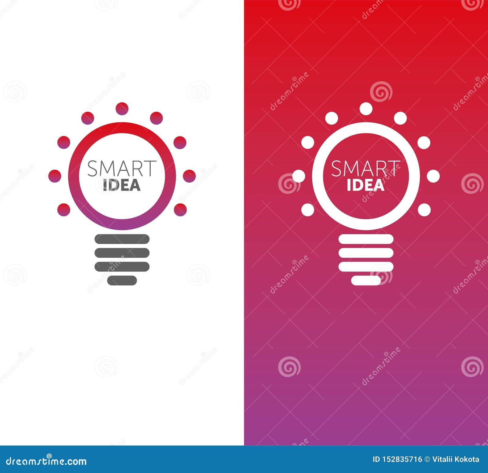Έξυπνη ιδέα ΛΟΓΟΤΥΠΩΝ διανυσματικός βολβός logotype κλίση 2 χρωμάτων μορφή κύκλων