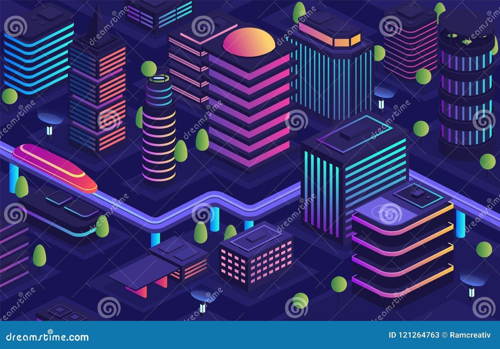 Έξυπνη πόλη στο φουτουριστικό ύφος, πόλη του μέλλοντος Εμπορικό κέντρο, στεγάζοντας αστικά κτήρια με τους ουρανοξύστες