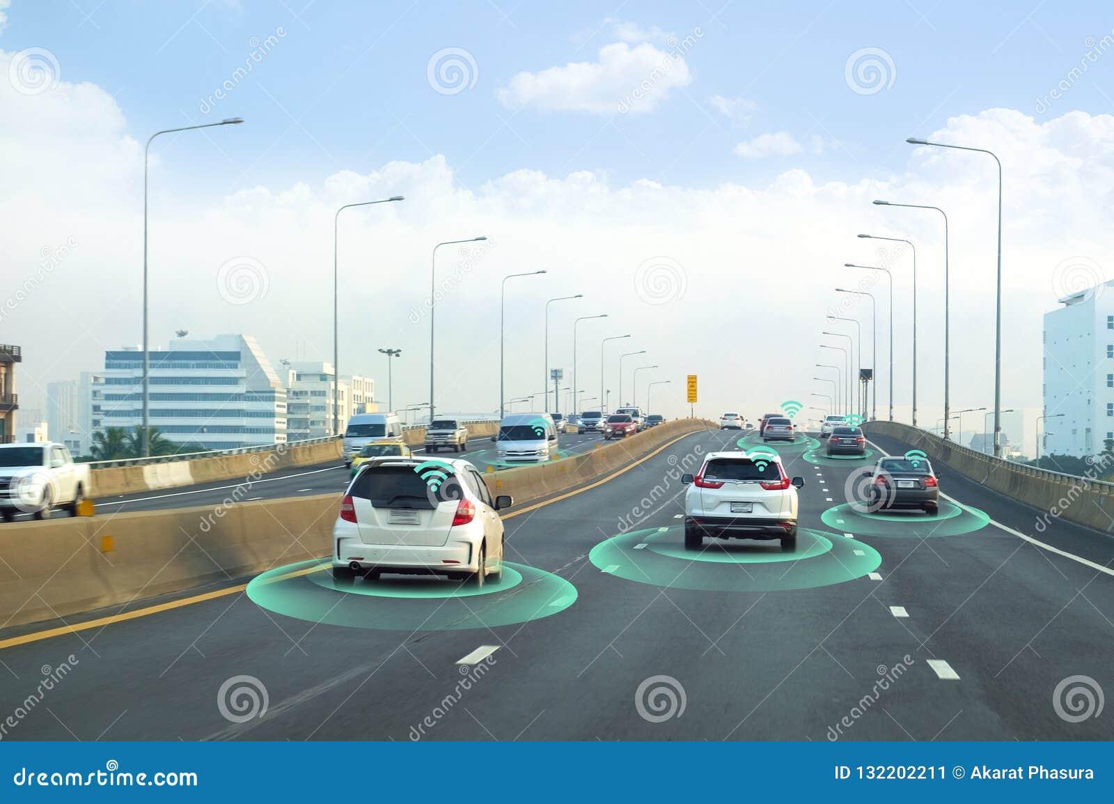 Έξυπνο αυτοκίνητο, μόνος-οδηγώντας όχημα τρόπου με το σύστημα σημάτων ραντάρ και και ασύρματη επικοινωνία, αυτόνομη