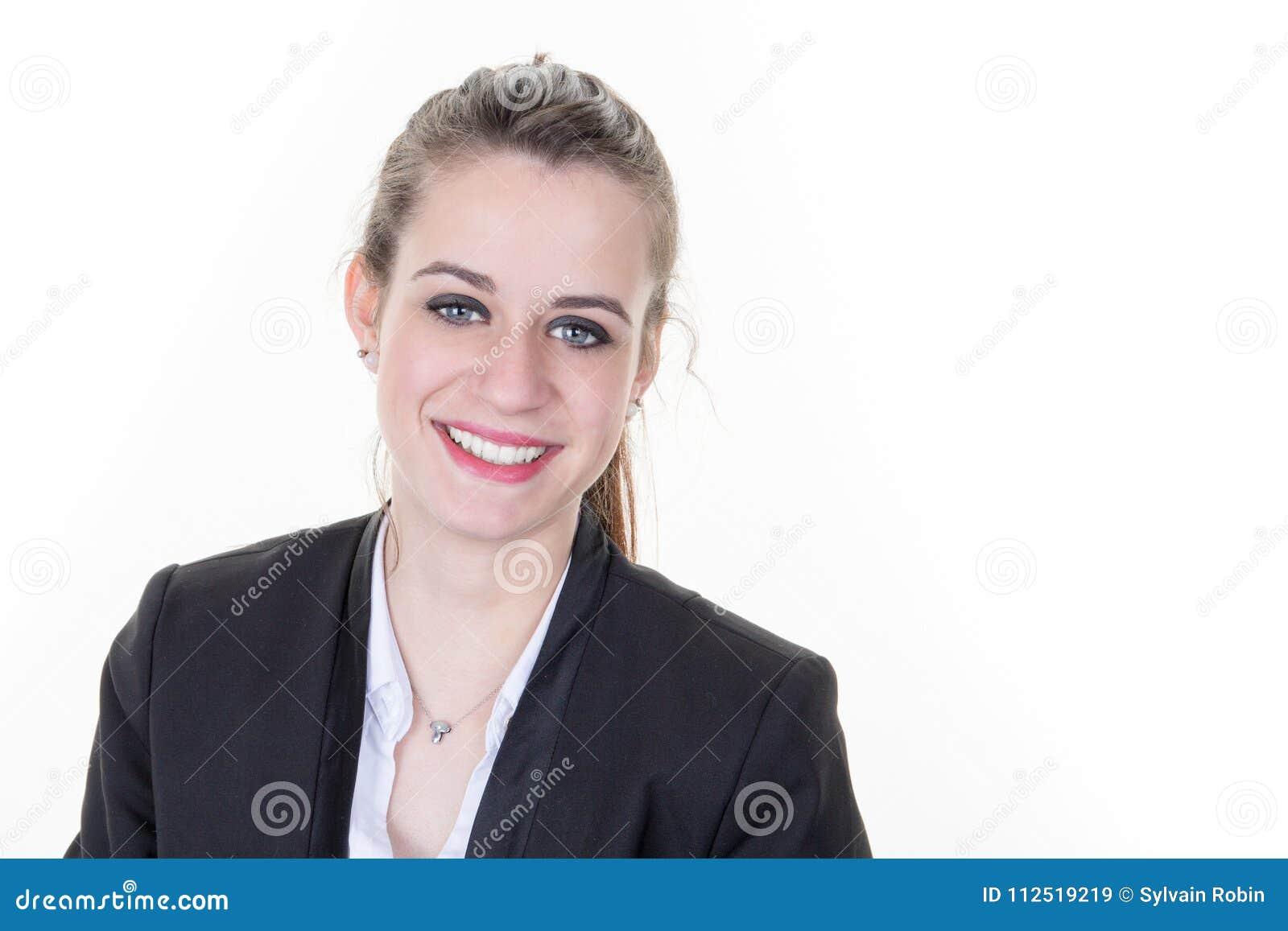 Έξυπνο ευφυές περιστασιακό πορτρέτο επιχειρησιακών προσώπων με το ειλικρινές χαμόγελο