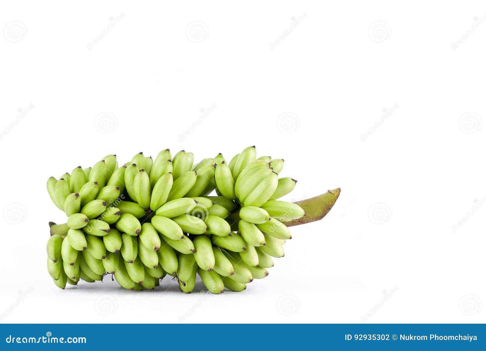δέσμη της φρέσκιας ακατέργαστης γυναικείας Finger μπανάνας στα άσπρα τρόφιμα φρούτων μπανανών MAS Pisang υποβάθρου υγιή που απομο