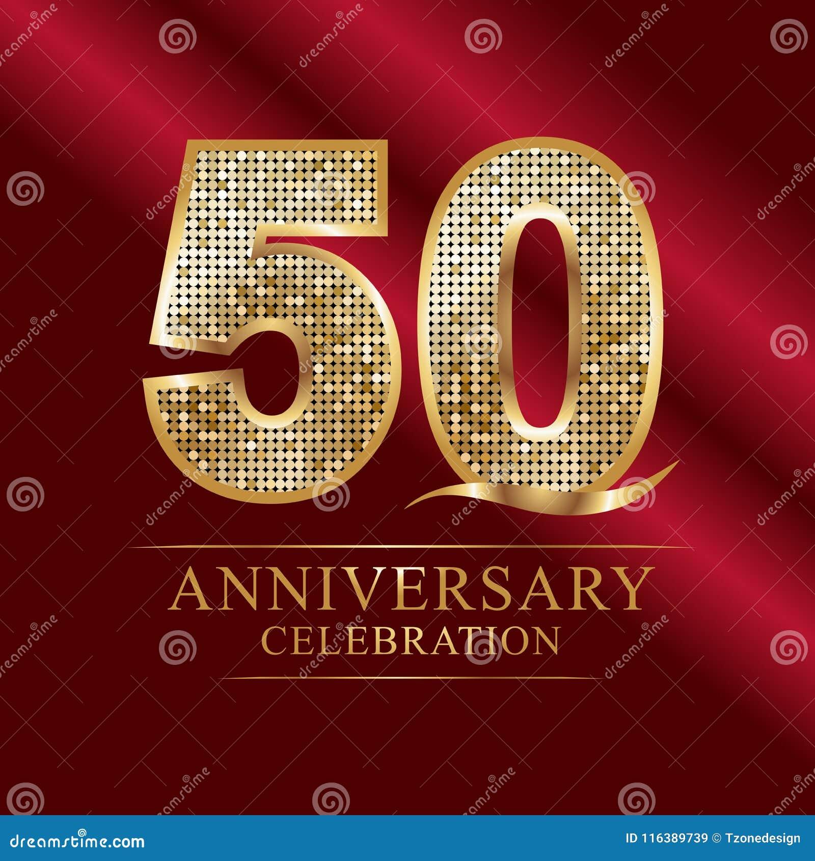 50 έτη εορτασμού επετείου logotype κόκκινη κορδέλλα 50ης επετείου ετών και χρυσό μπαλόνι στο γκρίζο υπόβαθρο