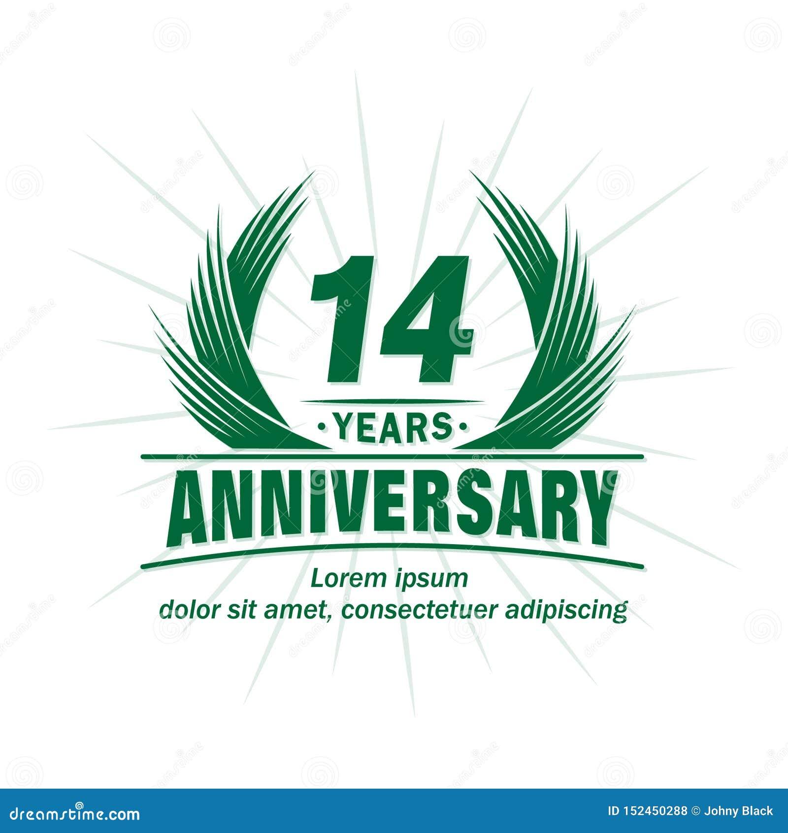 14 έτη επετείου Κομψό σχέδιο επετείου 14ο λογότυπο ετών