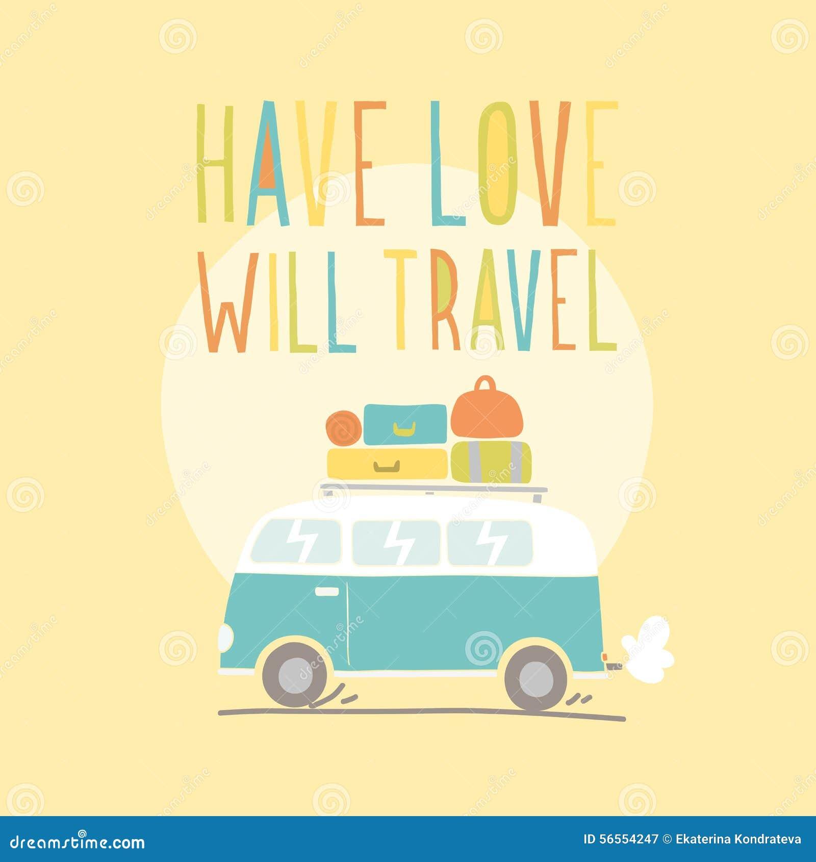 Download Έχετε την αγάπη θα ταξιδεψει Αναδρομικό Van Illustration Διανυσματική απεικόνιση - εικονογραφία από δροσίστε, διασκέδαση: 56554247