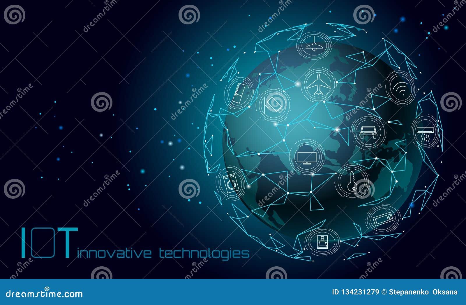 Ήπειρος Διαδίκτυο της Ασίας πλανήτη Γη της έννοιας τεχνολογίας καινοτομίας εικονιδίων πραγμάτων Ασύρματο δίκτυο επικοινωνίας IOT