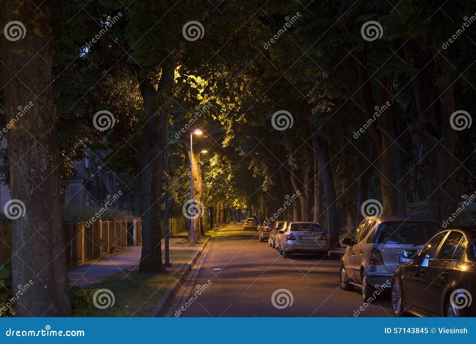 Ήρεμη αλέα οδών αργά σκοτεινή στη νύχτα