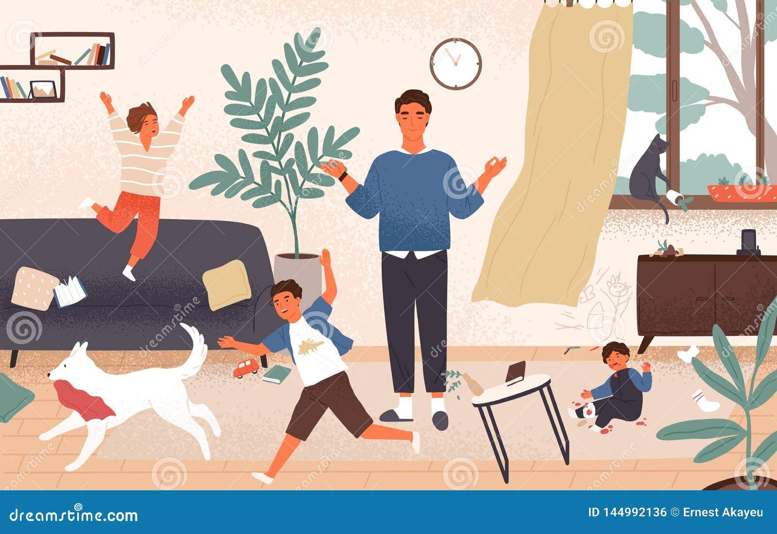 Ήρεμος μπαμπάς και άτακτα απειθή παιδιά που τρέχουν γύρω από τον Ο πατέρας που περιβάλλεται την ηρεμία από τα παιδιά προσπαθεί να