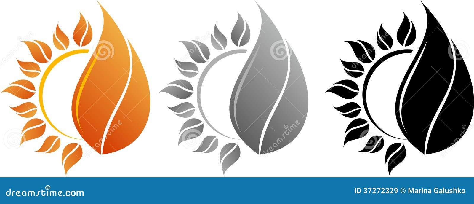 Ήλιος και πυρκαγιά λογότυπων
