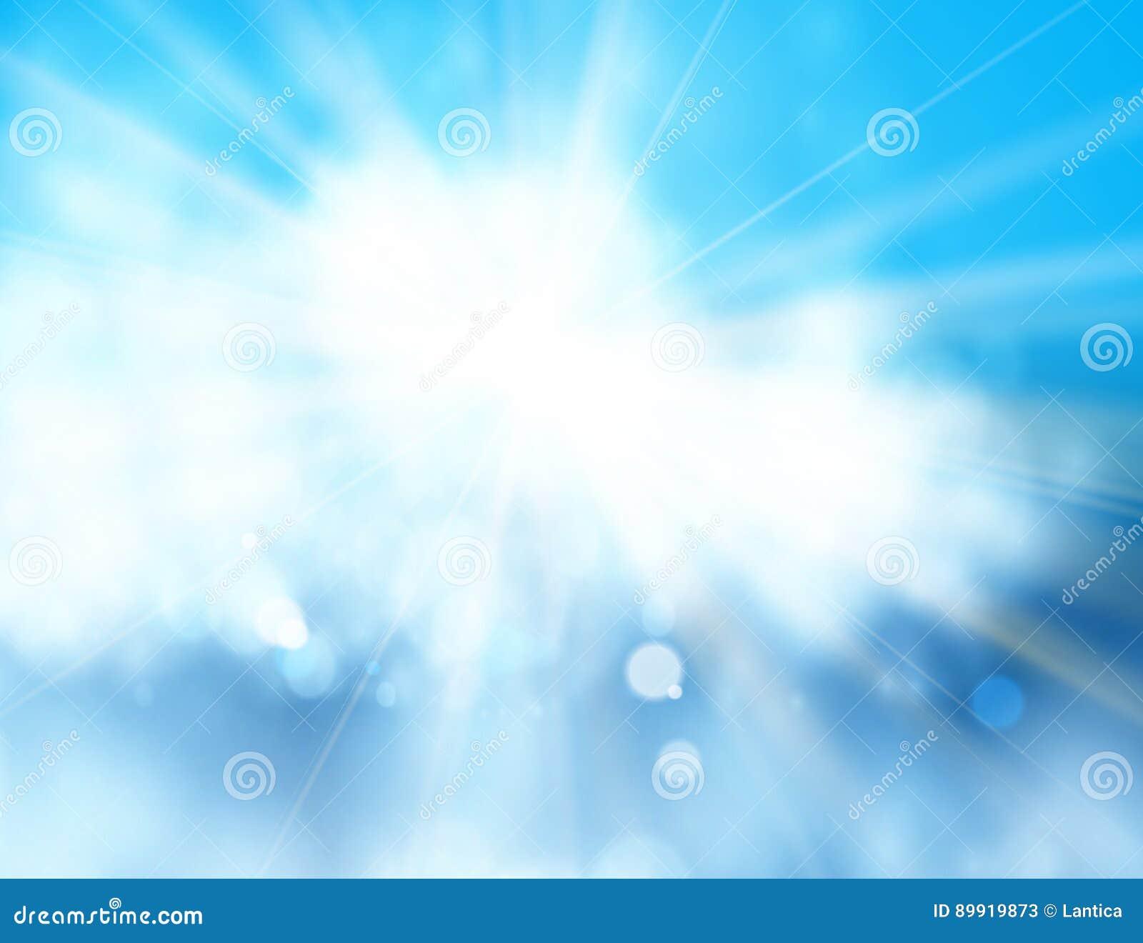 ήλιος μπλε ουρανού Ρεαλιστικό σχέδιο θαμπάδων με τις ακτίνες έκρηξης αφηρημένο να λάμψει ανασκόπ&