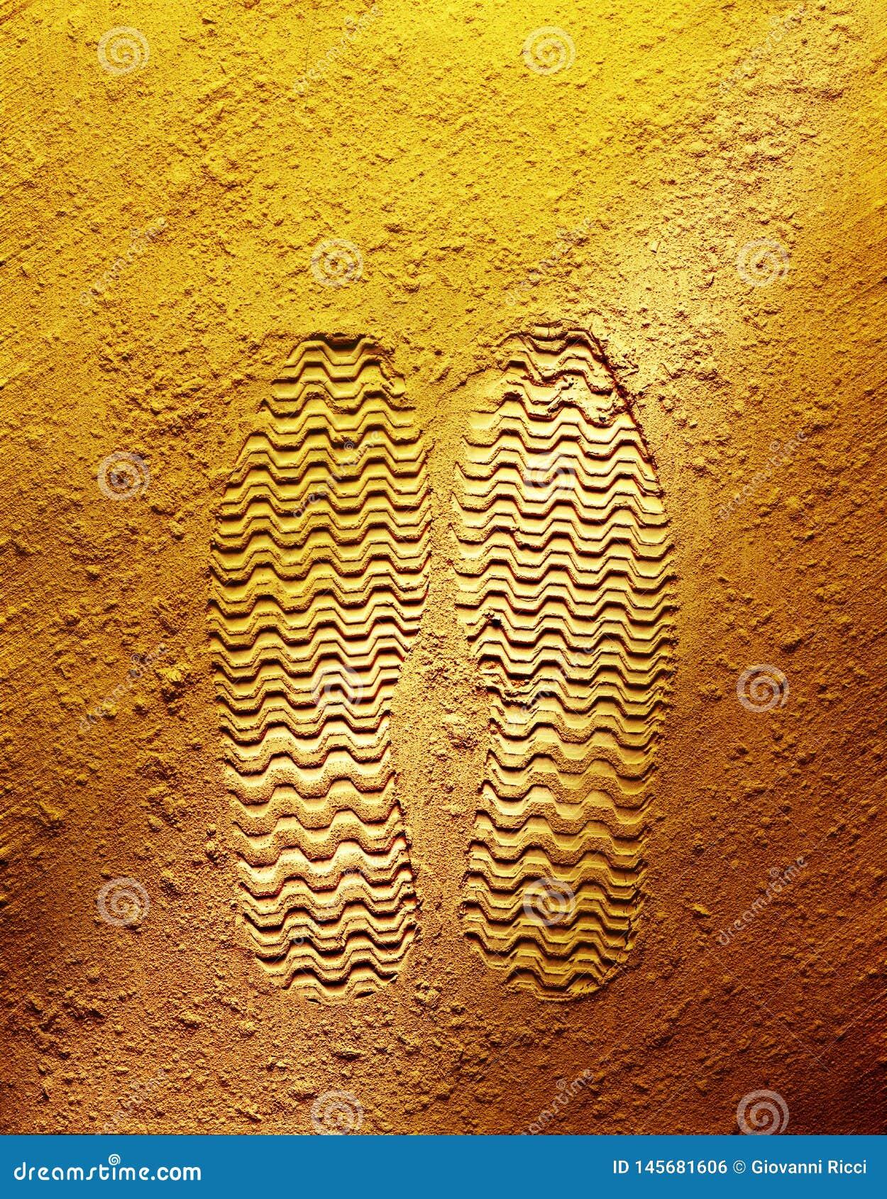 Ίχνος στο κίτρινο υπόβαθρο