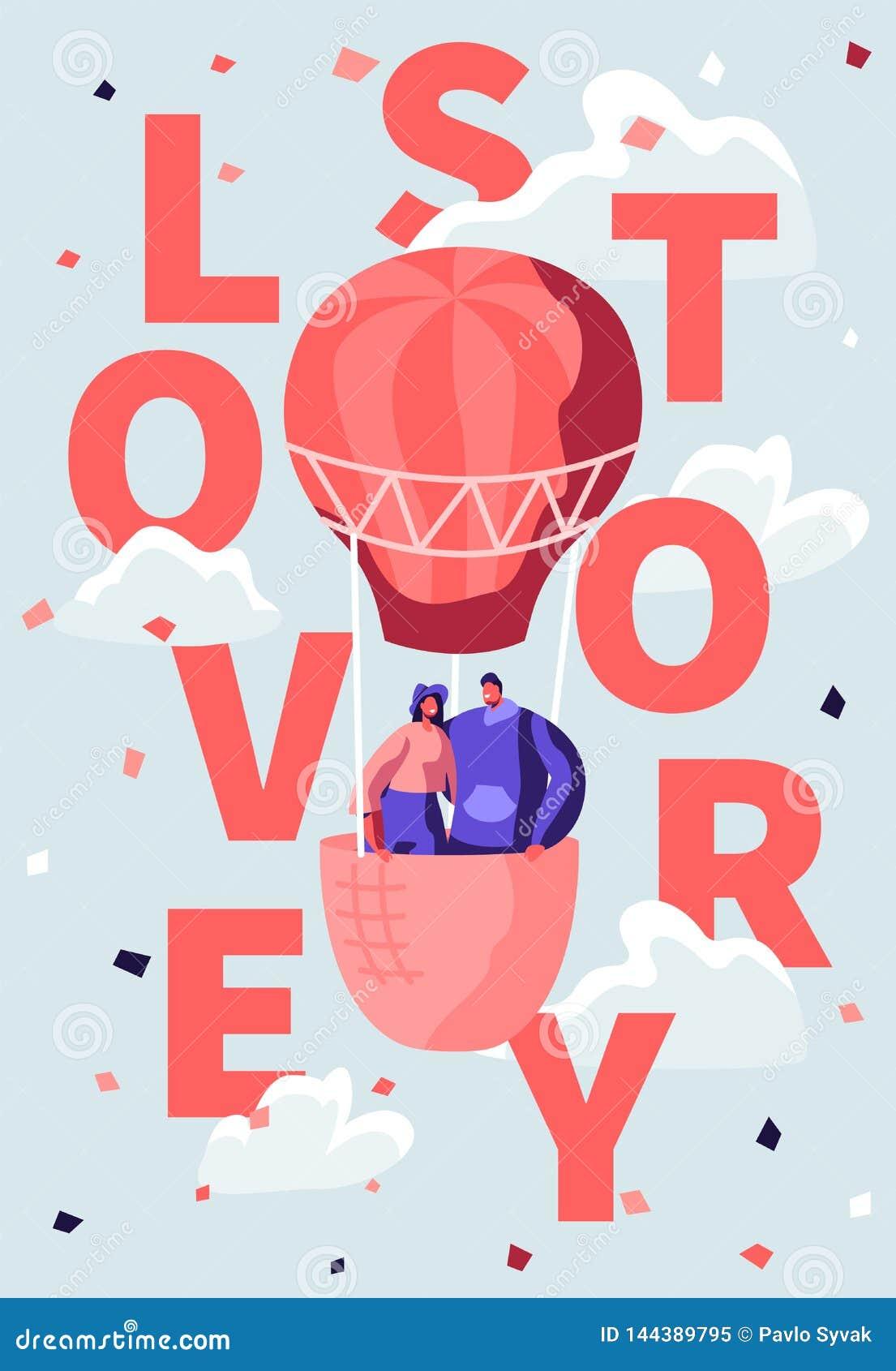 Αγάπη της ευτυχούς μύγας ζεύγους στο μπαλόνι αέρα στο νεφελώδη ουρανό Ρομαντικό ταξίδι μήνα του μέλιτος, ημέρα βαλεντίνων Αφίσα τ