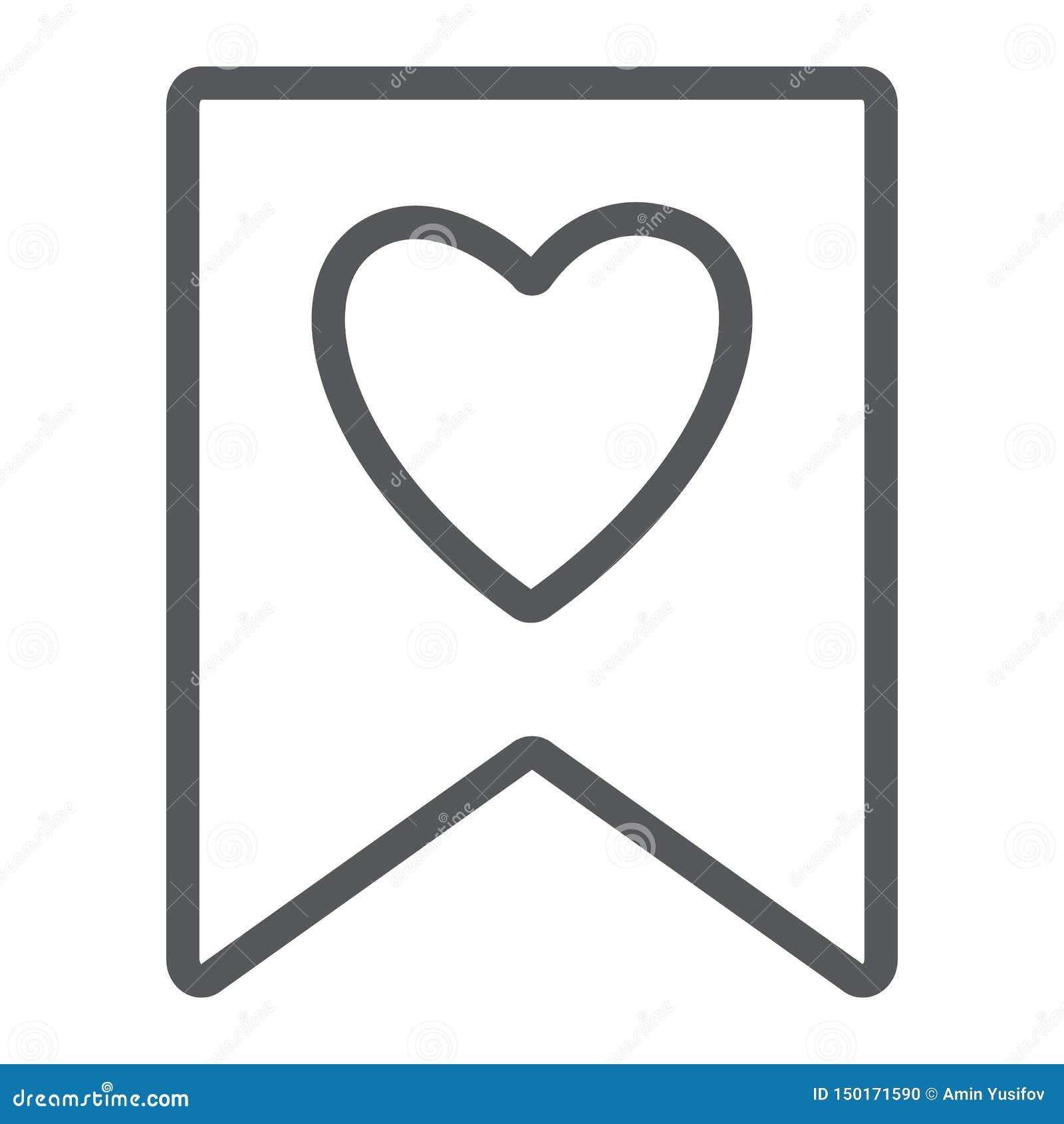 Αγαπημένο εικονίδιο γραμμών, σημάδι και αγαπημένος, σελιδοδείκτης με το σημάδι καρδιών, διανυσματική γραφική παράσταση, ένα γραμμ