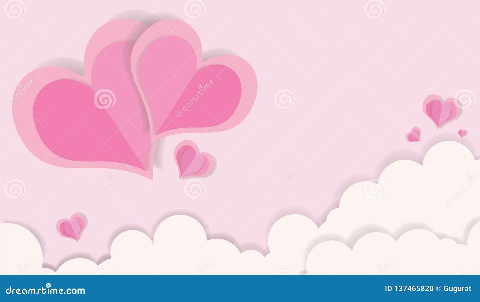 ΑΓΑΠΗ - Ημέρα βαλεντίνου που κόβει τη ρόδινες καρδιά εγγράφου χρώματος και την τέχνη έννοιας γαμήλιων καρτών