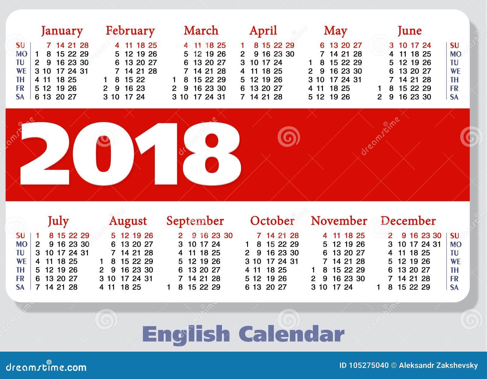 Αγγλικό ημερολόγιο τσεπών για το 2018