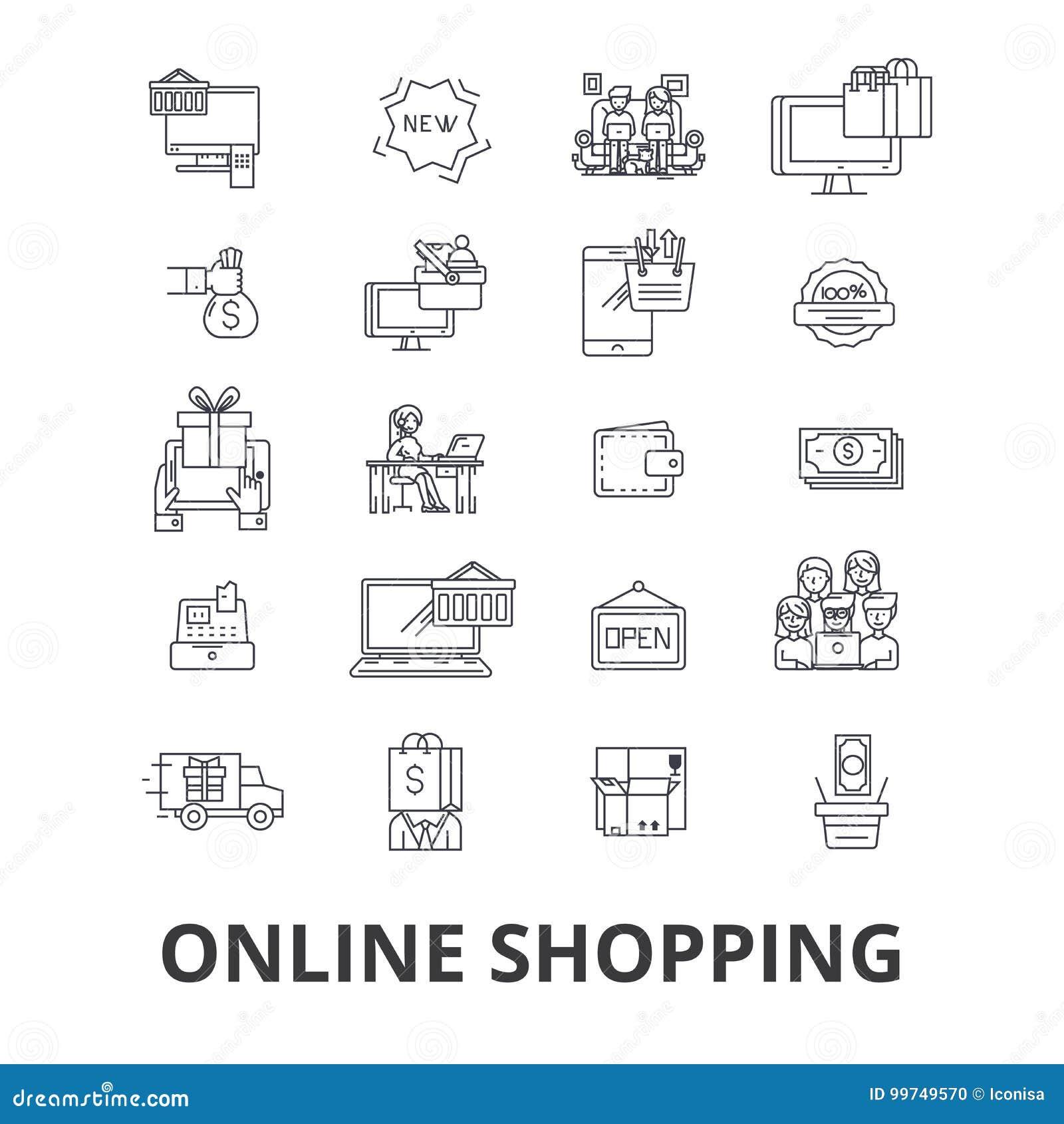 Αγοράστε on-line, αγορές, κατάστημα Διαδικτύου, ηλεκτρονικό εμπόριο, κάρρο, διαταγή, κινητά λιανικά εικονίδια γραμμών Κτυπήματα E