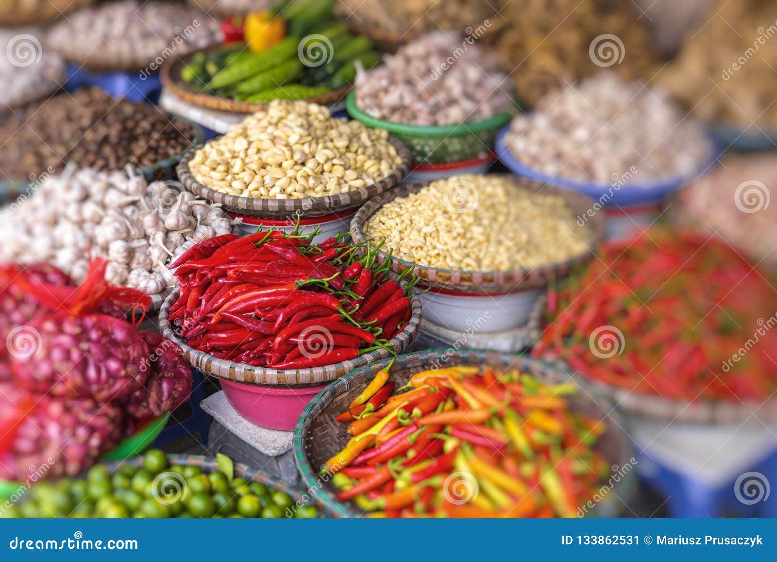 Αγορά φρούτων και λαχανικών στο Ανόι, παλαιό τέταρτο, Βιετνάμ, Ασία