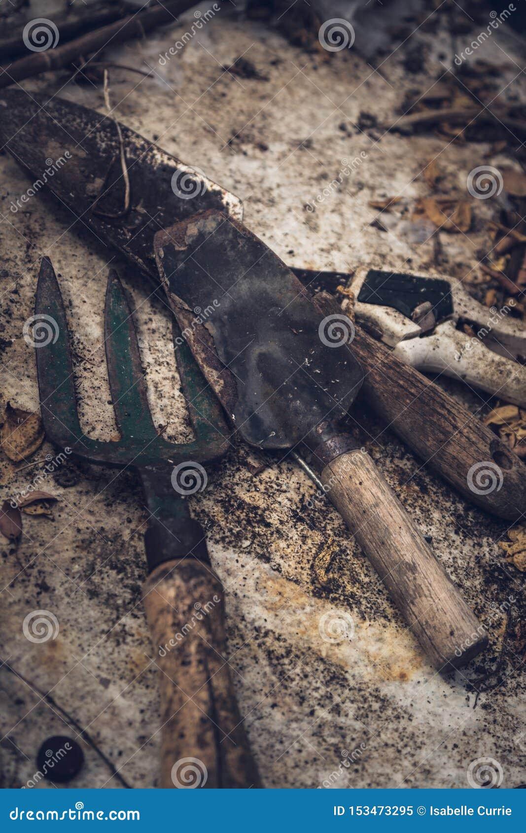 Αγροτικά παλαιά εργαλεία κηπουρικής στη σύσταση
