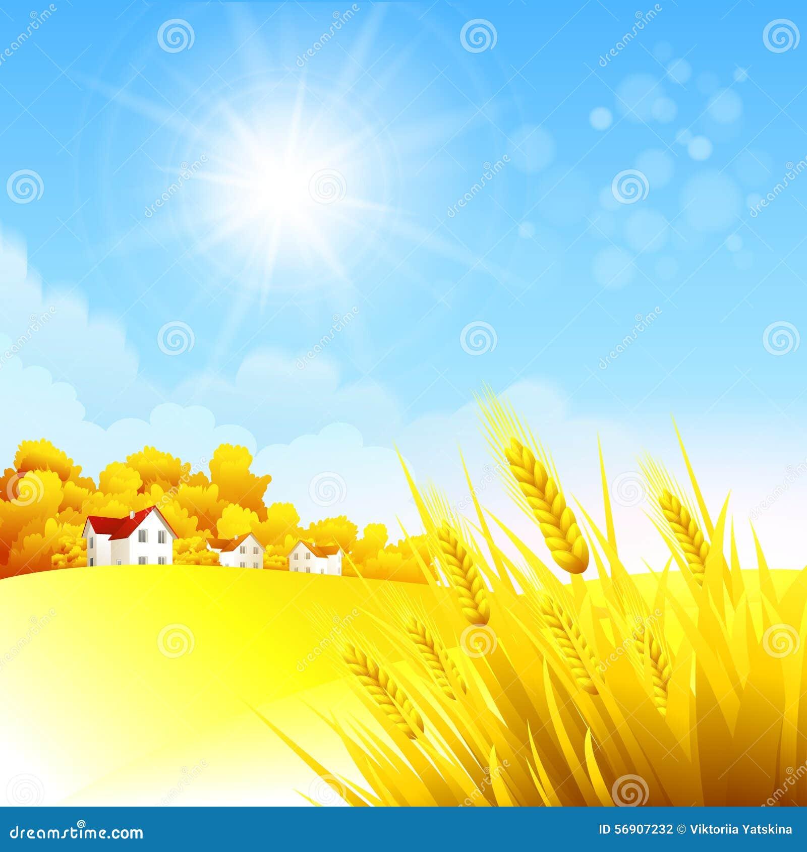 Αγροτικό τοπίο φθινοπώρου επίσης corel σύρετε το διάνυσμα απεικόνισης