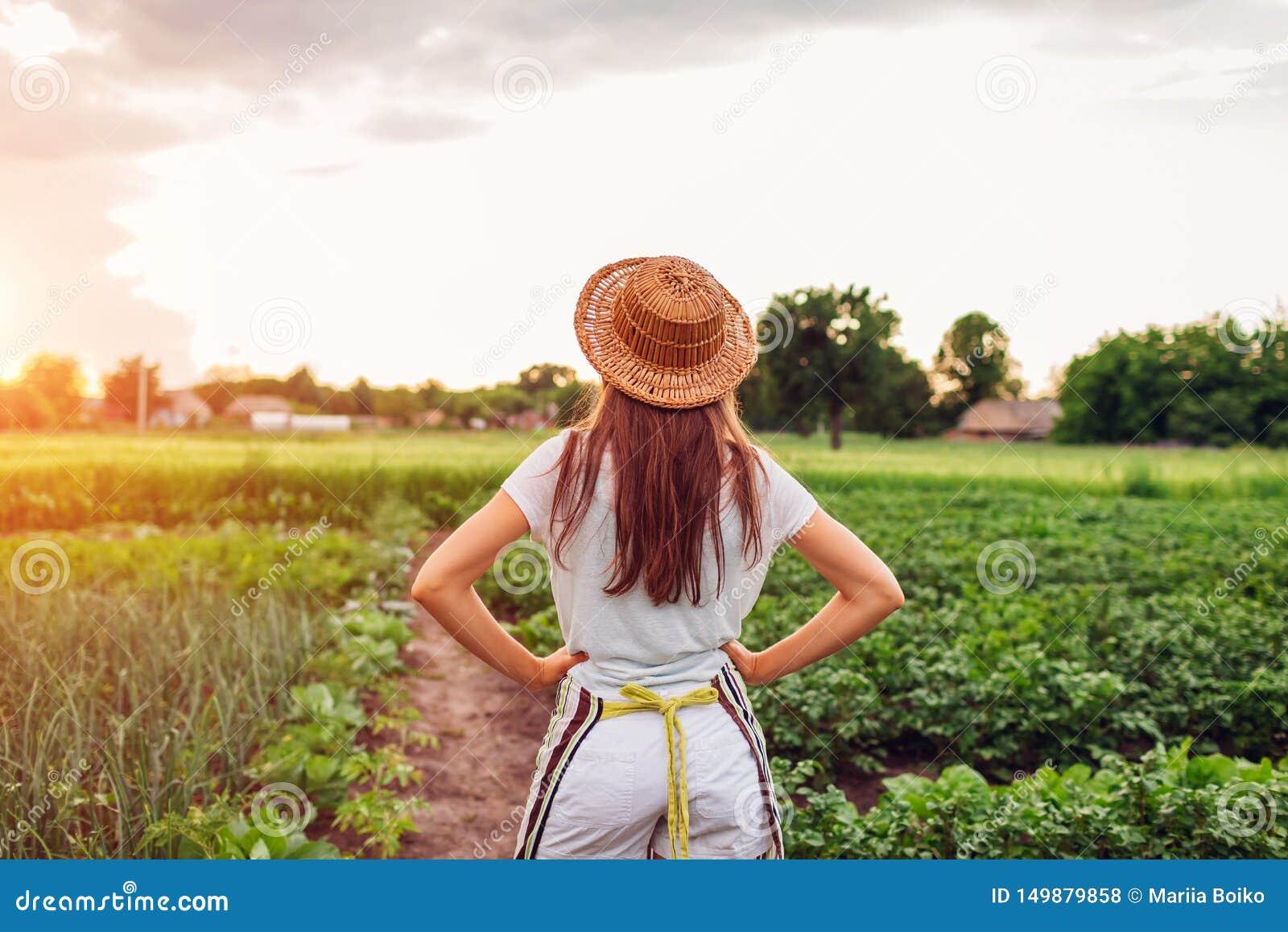 Αγρότης γυναικών που εξετάζει τα λαχανικά στον κουζίνα-κήπο στην επαρχία Έννοια γεωργίας και καλλιέργειας