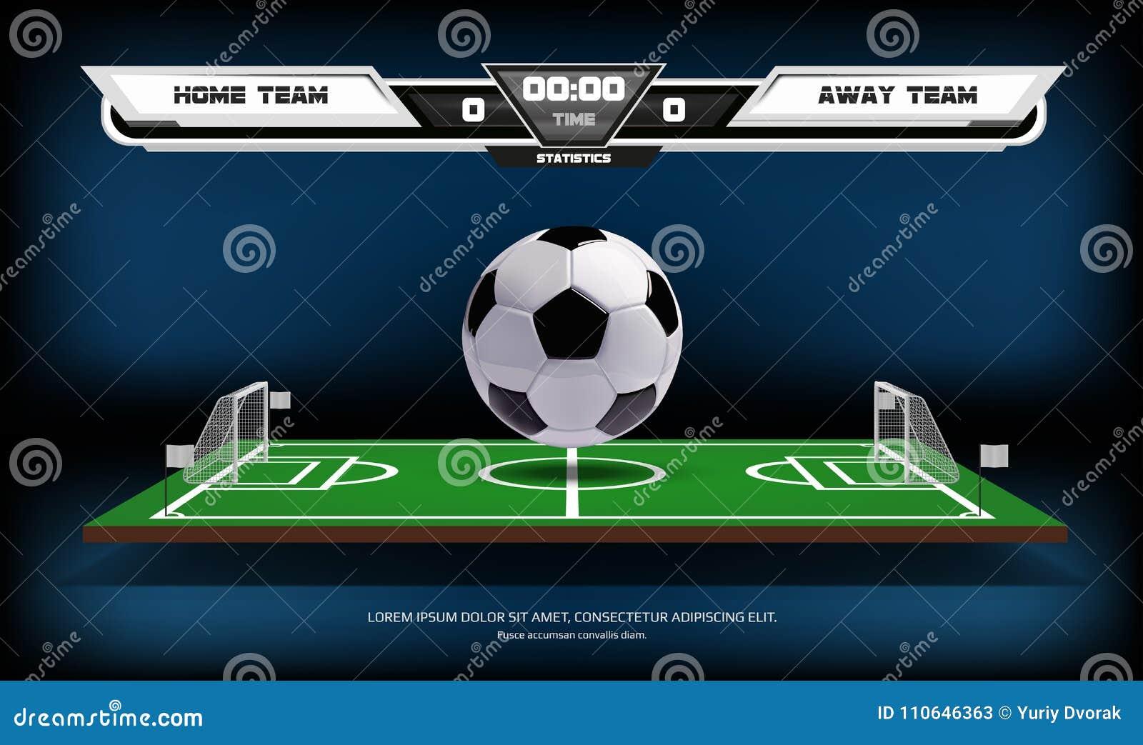 Αγωνιστικός χώρος ποδοσφαίρου ή ποδοσφαίρου με τα infographic στοιχεία και την τρισδιάστατη σφαίρα αθλητισμός παιχνιδιών Επίκεντρ