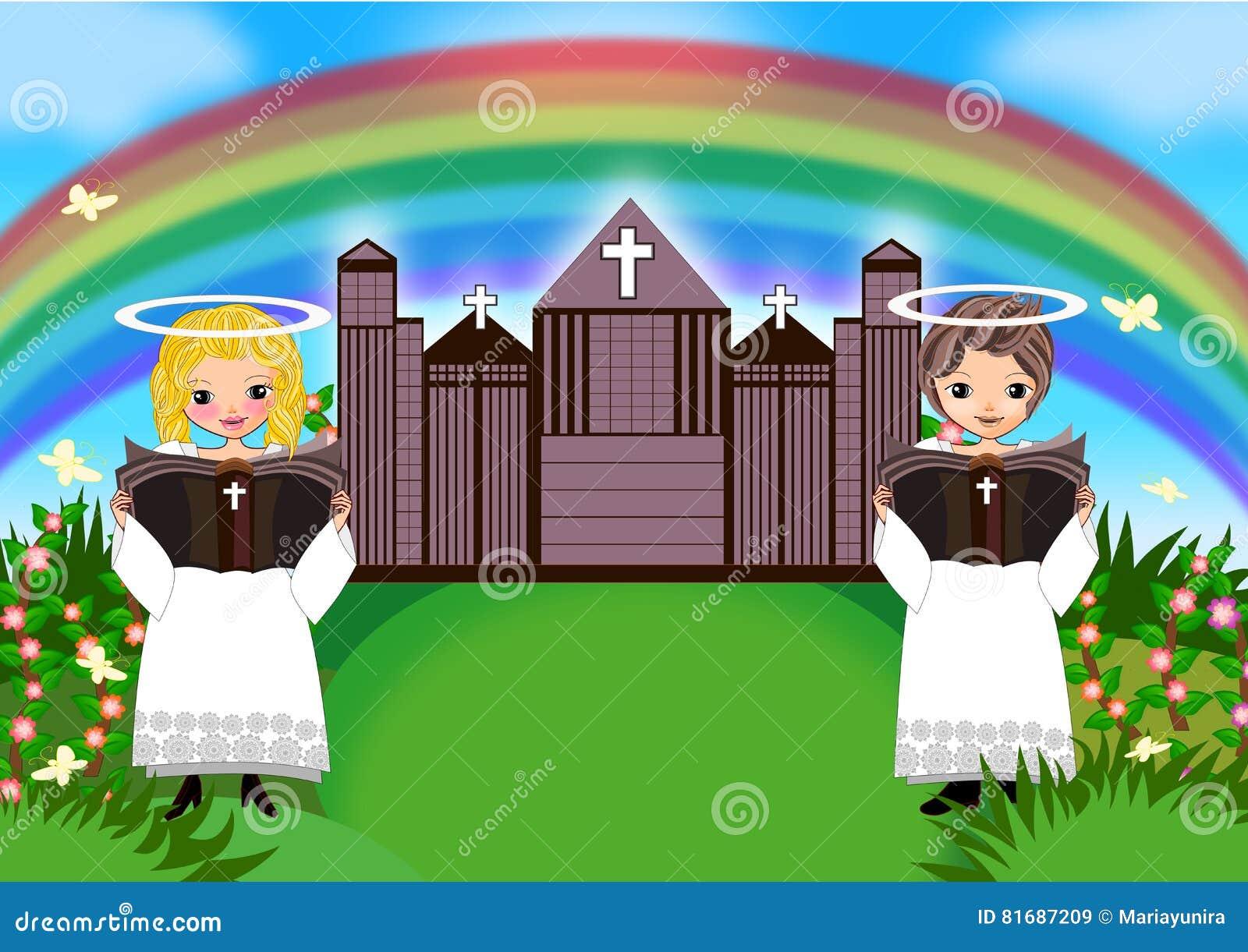 Αγόρι κοριτσιών παιδιών στην εκκλησία