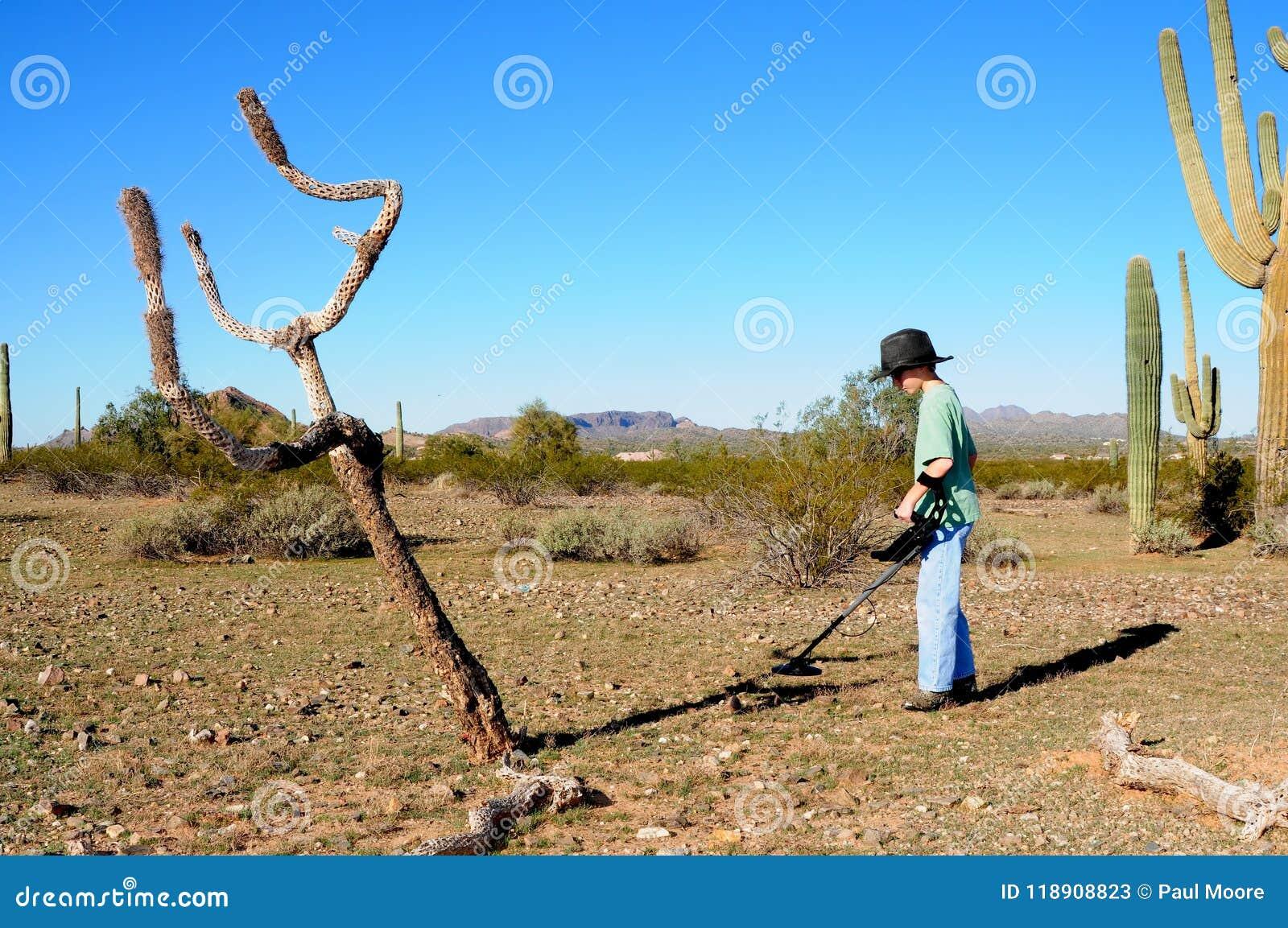 Αγόρι με ένα κυνήγι θησαυρών ανιχνευτών μετάλλων