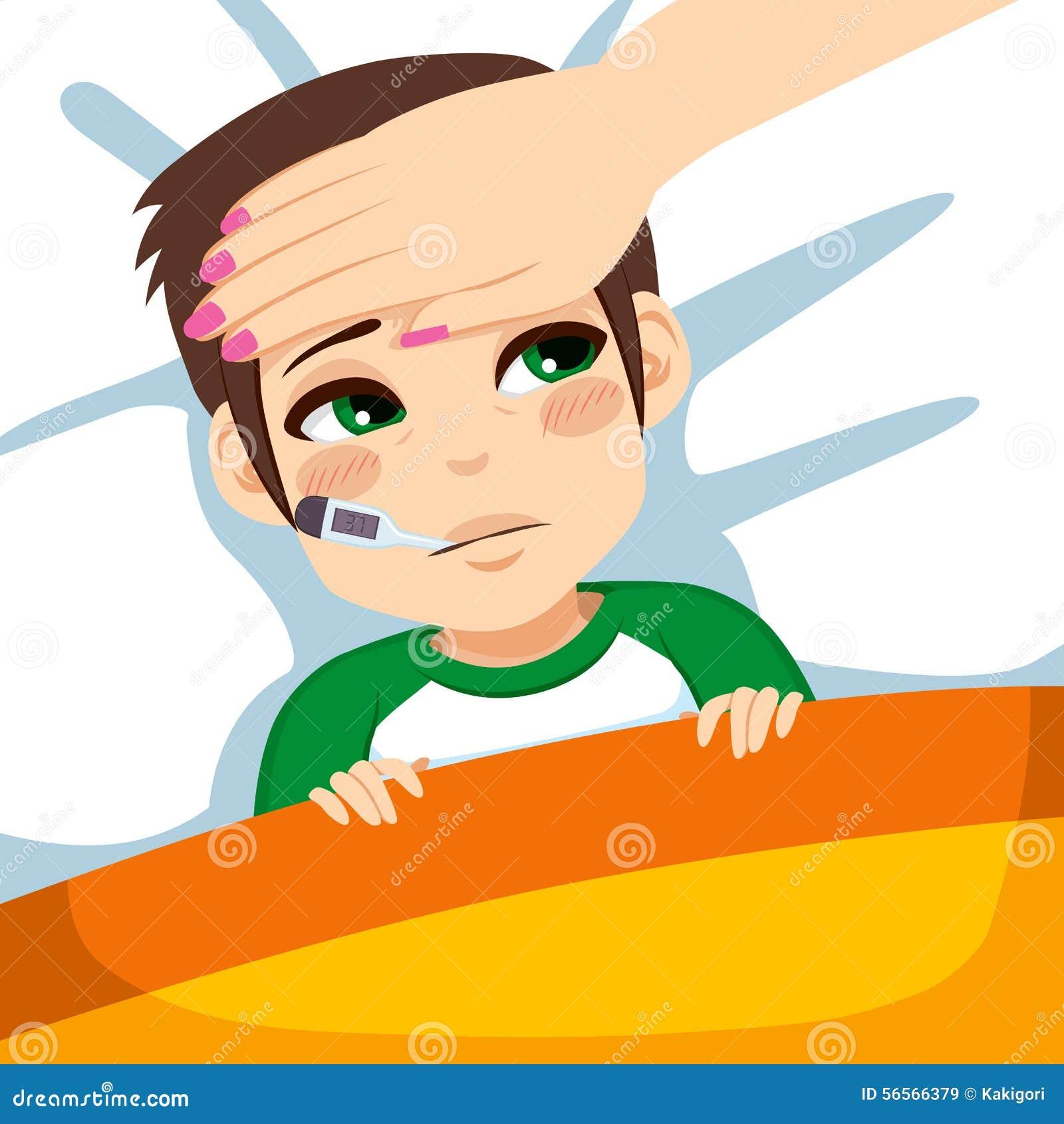 Download Αγόρι με το θερμόμετρο στο κρεβάτι Διανυσματική απεικόνιση - εικονογραφία από απεικόνιση, παιδιά: 56566379