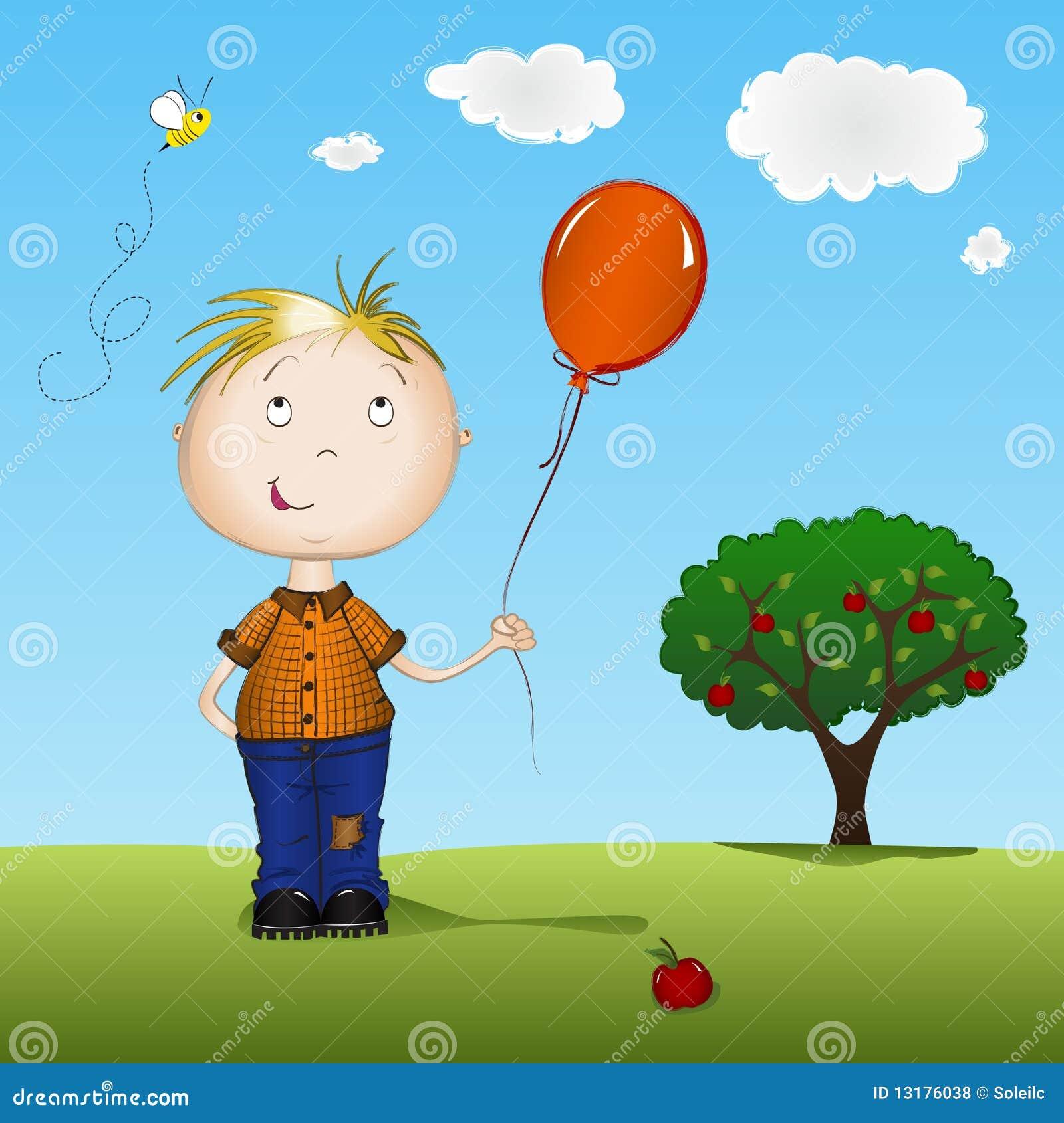 αγόρι μπαλονιών ευτυχές