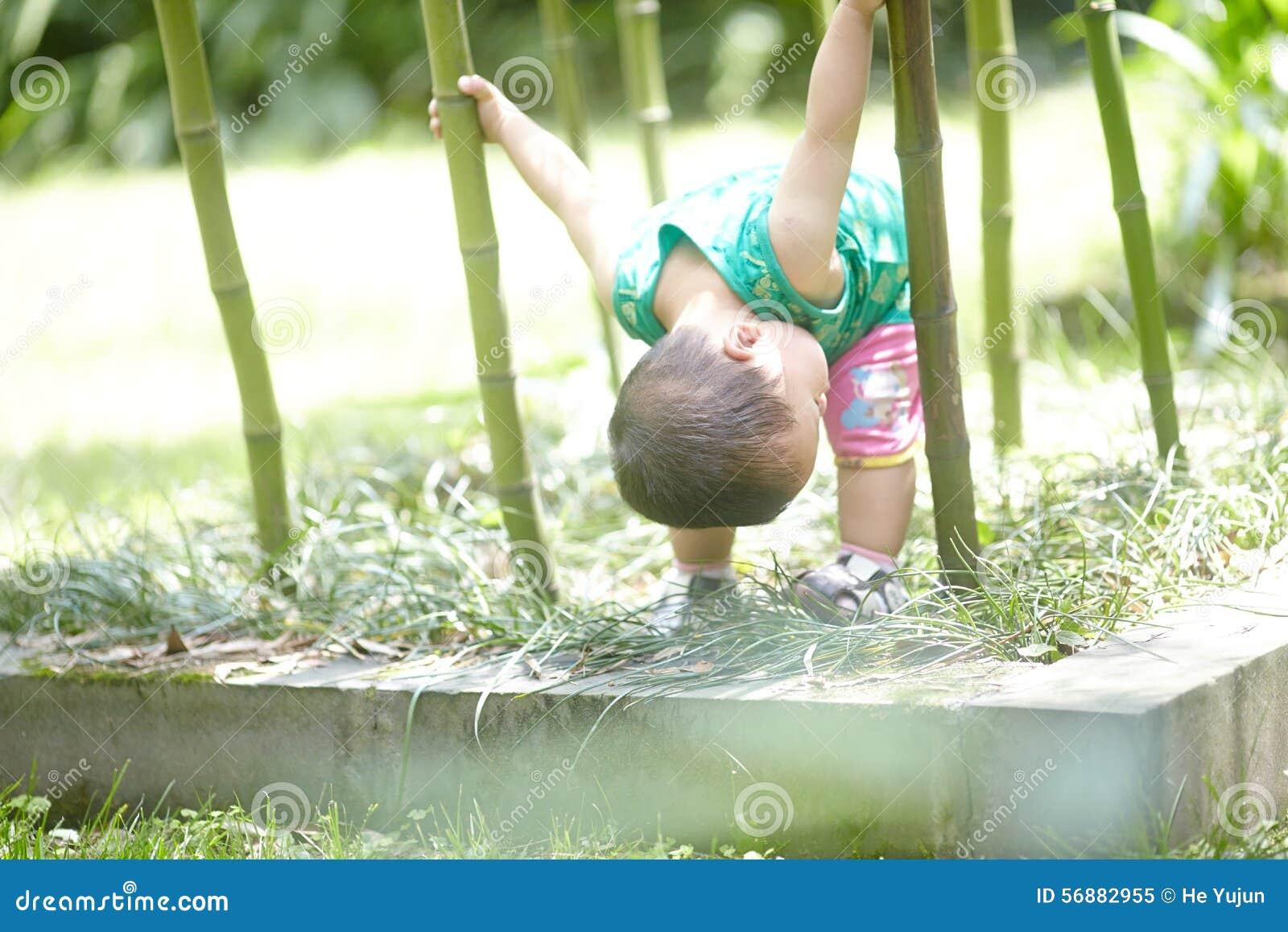 Αγόρι στο δάσος μπαμπού το καλοκαίρι
