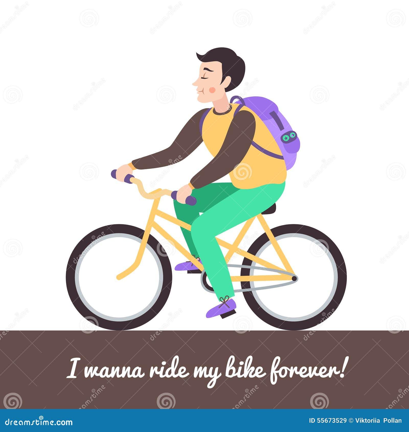 3b6ba84dece Αγόρι Brunette στο πράσινο ποδήλατο Διανυσματική απεικόνιση ...