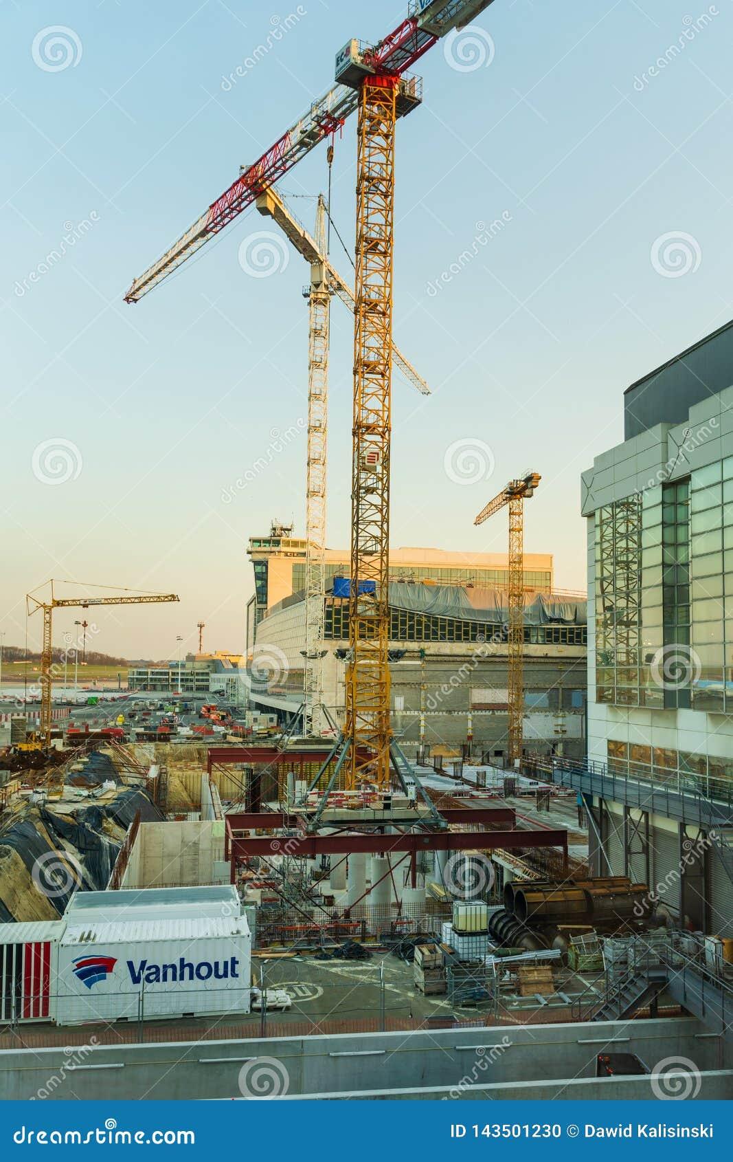 Αερολιμένας των Βρυξελλών, Βέλγιο, το Μάρτιο του 2019 Βρυξέλλες, περιοχή κατασκευής για την επέκταση αερολιμένων