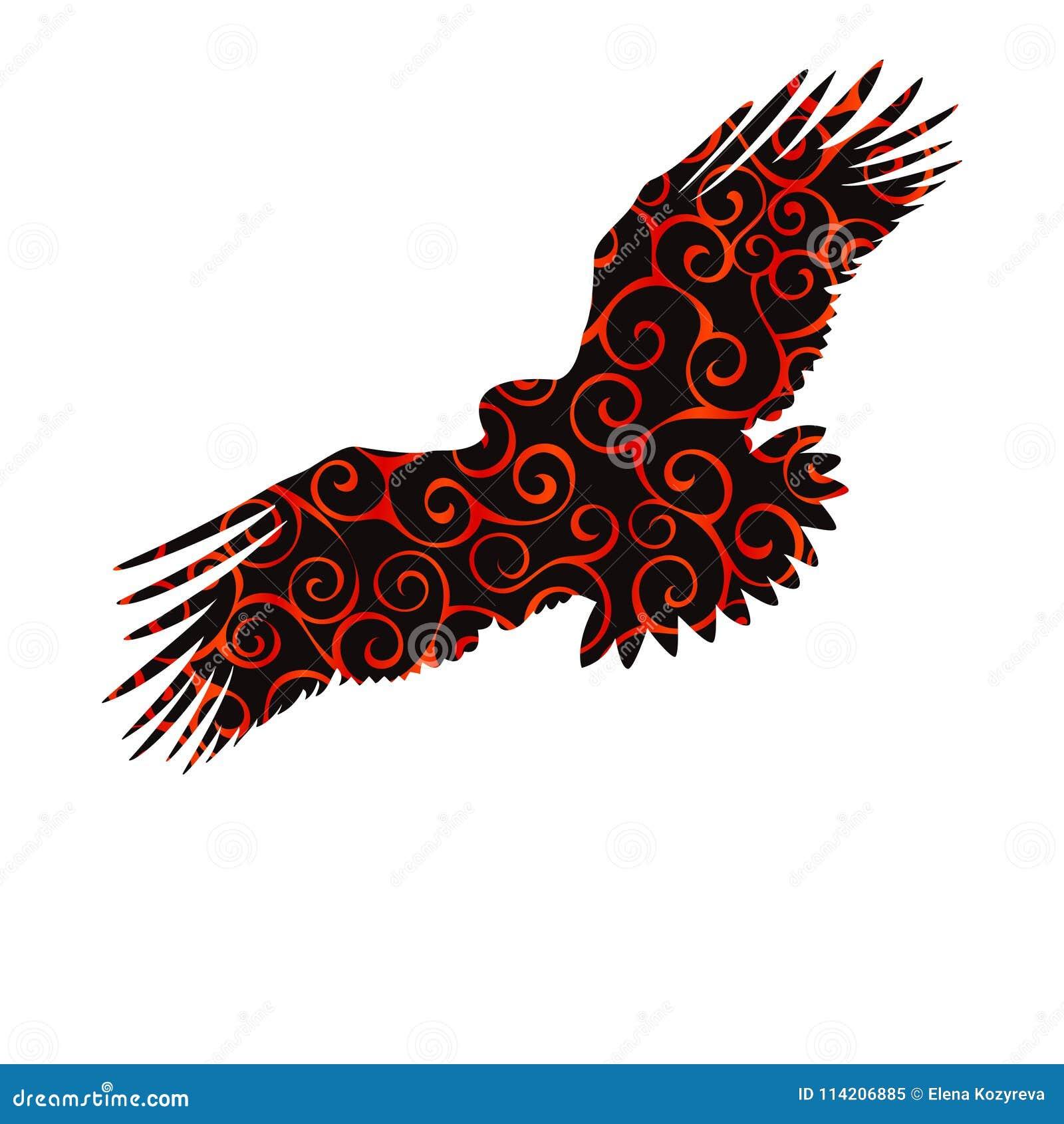 Αετών γερακιών χρυσό αετών ani σκιαγραφιών χρώματος σχεδίων πουλιών σπειροειδές