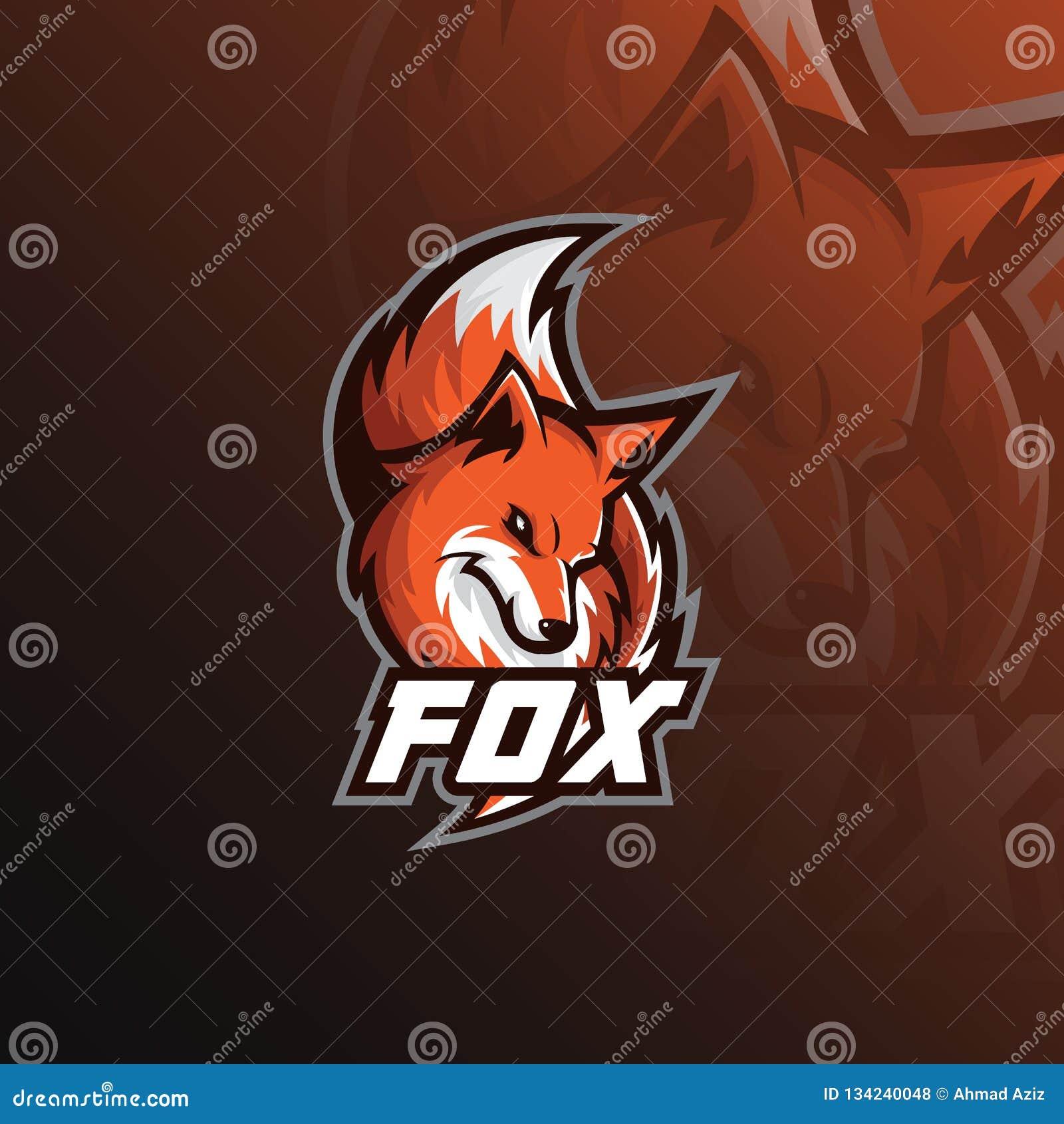 Αθλητική απεικόνιση μασκότ λογότυπων αλεπούδων σύγχρονα εικονίδια για τα λογότυπα και το έμβλημα