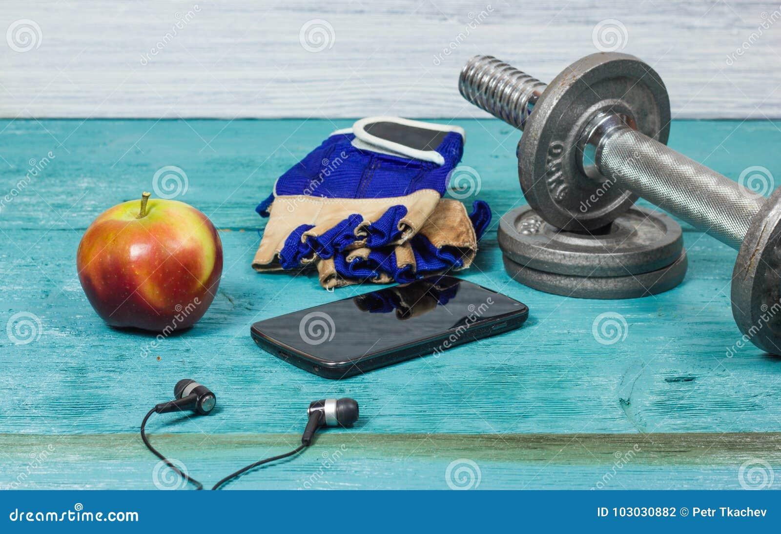 Αθλητικός εξοπλισμός Αλτήρες, ελεύθερα βάρη, αθλητικά γάντια, τηλέφωνο με τα ακουστικά