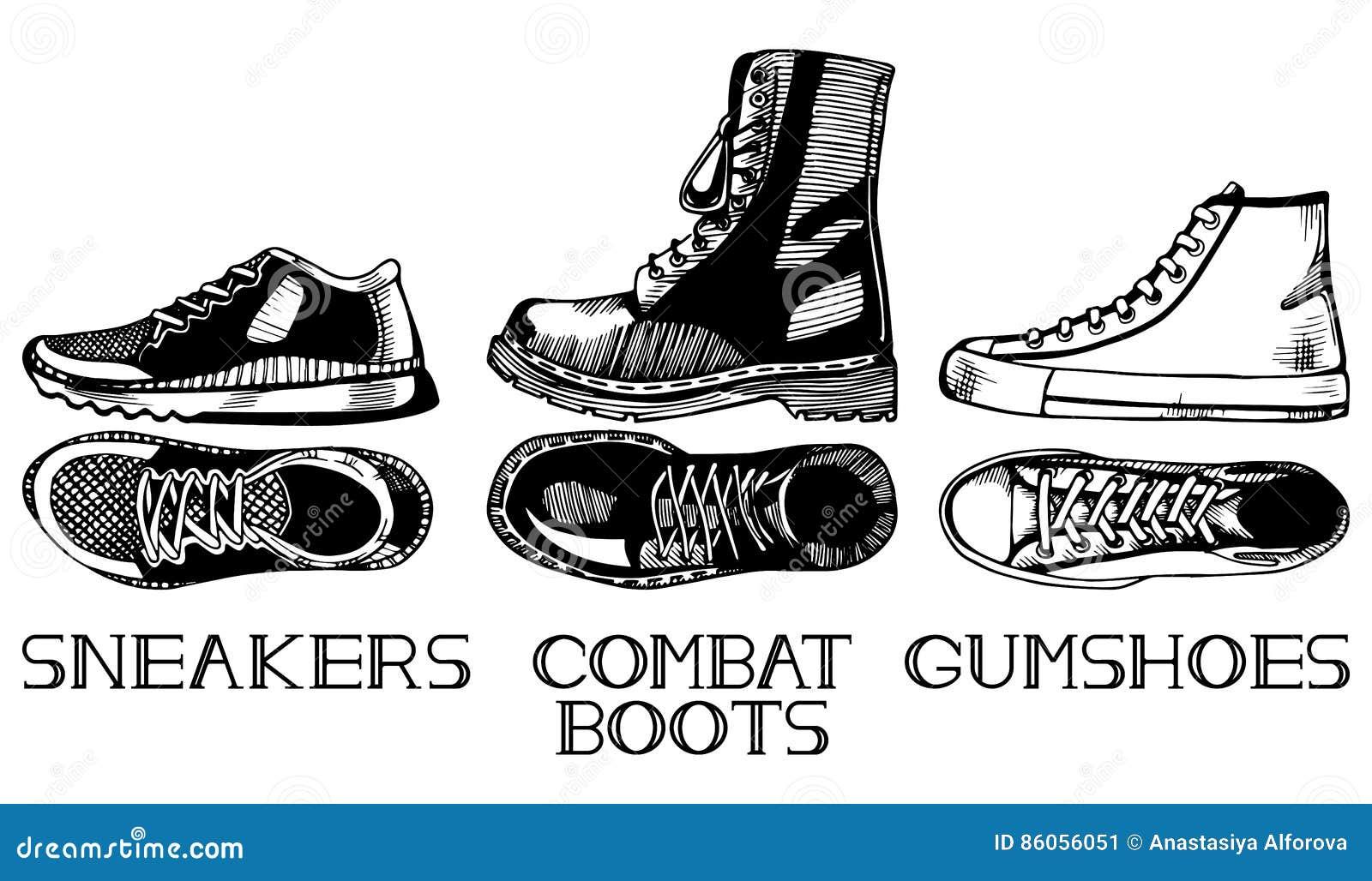 135273eec82 Αθλητικά περιστασιακά παπούτσια καθορισμένα Διανυσματική απεικόνιση ...