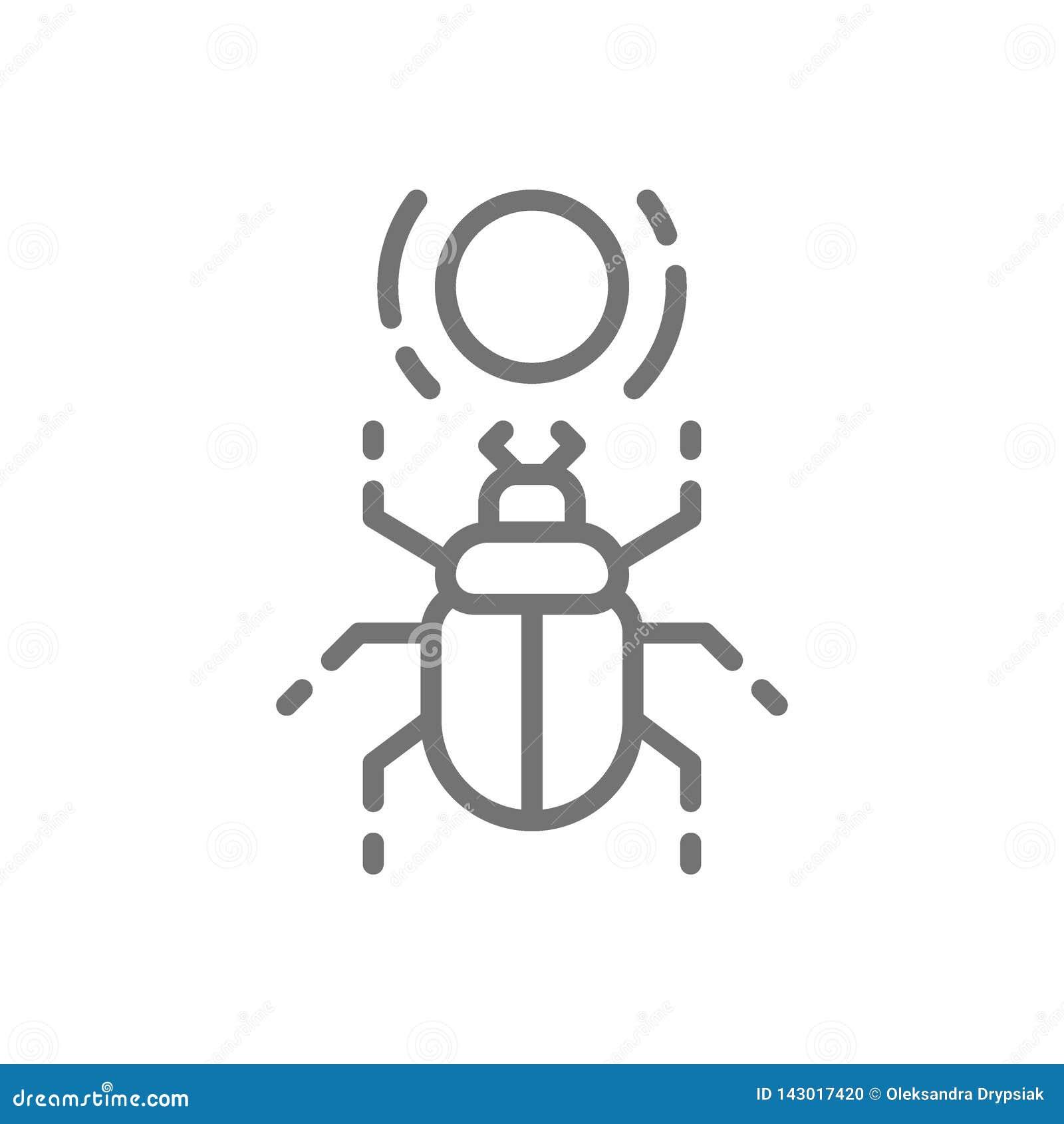 Αιγυπτιακό scarab, κάνθαρος, ιερό εικονίδιο γραμμών ζωύφιου