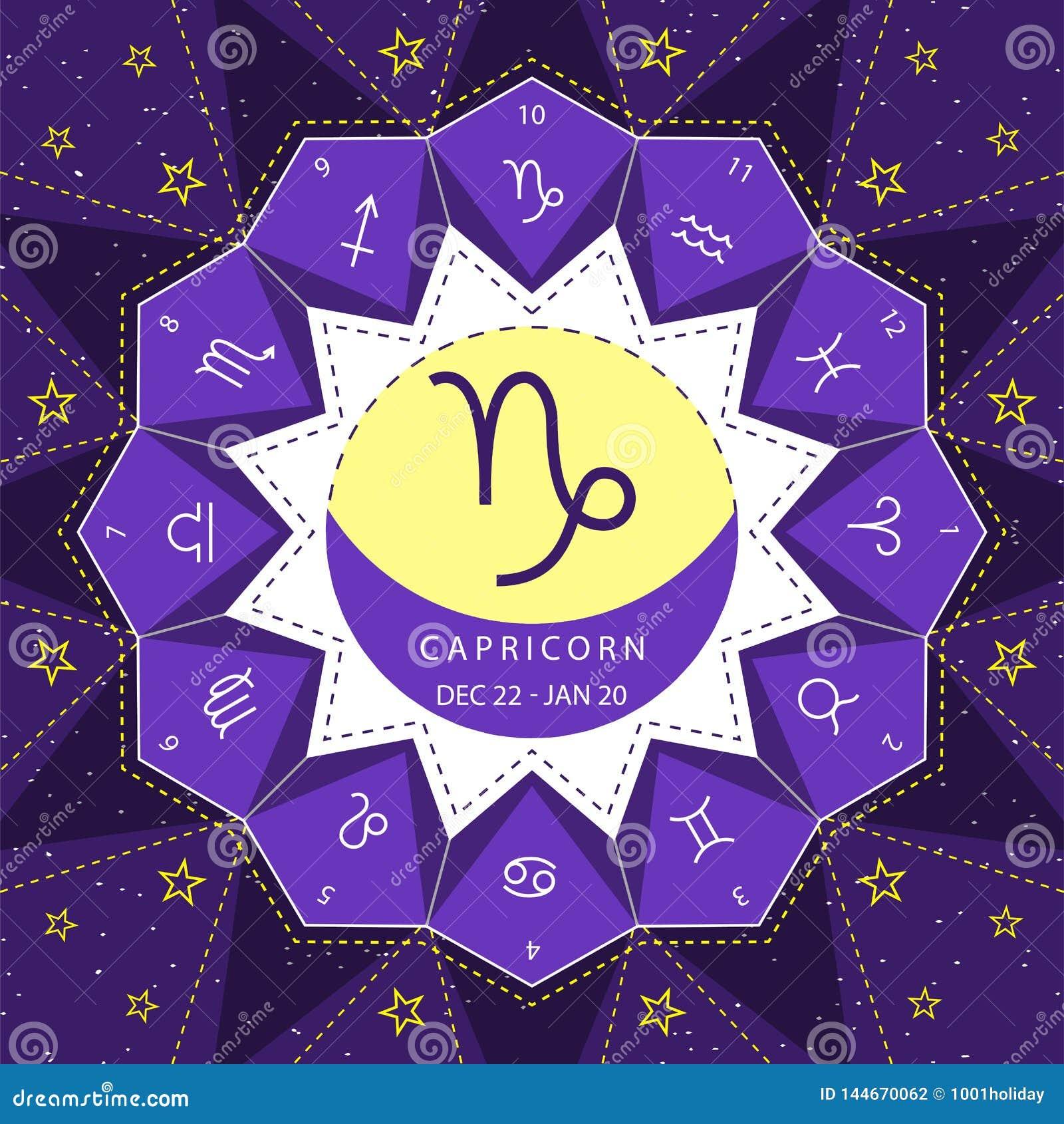 Αιγόκερος Zodiac διάνυσμα ύφους περιλήψεων σημαδιών που τίθεται στο υπόβαθρο ουρανού αστεριών