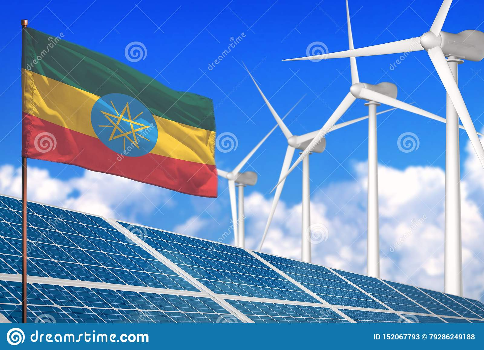 Αιθιοπία ηλιακή και αιολική ενέργεια, έννοια ανανεώσιμης ενέργειας με τα ηλιακά πλαίσια - ανανεώσιμη ενέργεια ενάντια στην παγκόσ