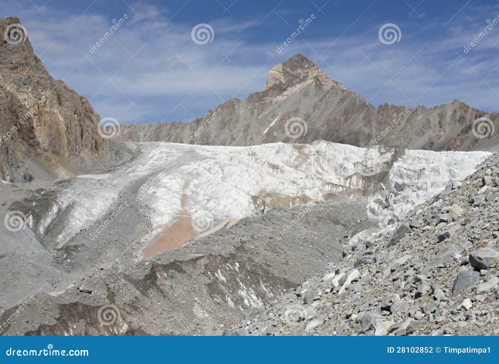 Αιχμή 4 037 μ και μέτωπο Aktash του παγετώνα Dugoba, pamir-Alay