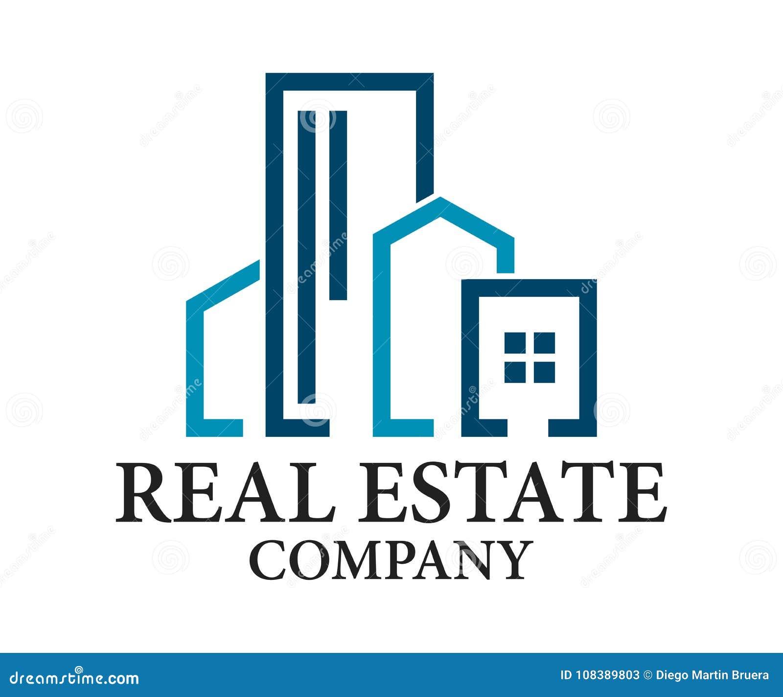 Ακίνητη περιουσία, διανυσματικό σχέδιο λογότυπων κτηρίου, οικοδόμησης και αρχιτεκτονικής