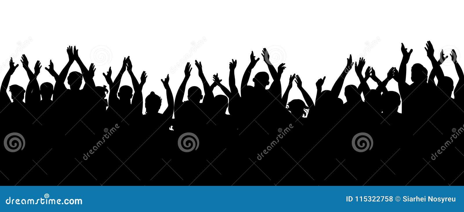 Ακροατήριο επιδοκιμασίας Εύθυμοι ανεμιστήρες όχλου που επιδοκιμάζουν, χτύπημα Άνθρωποι πλήθους ενθαρρυντικοί, χέρια ευθυμίας επάν