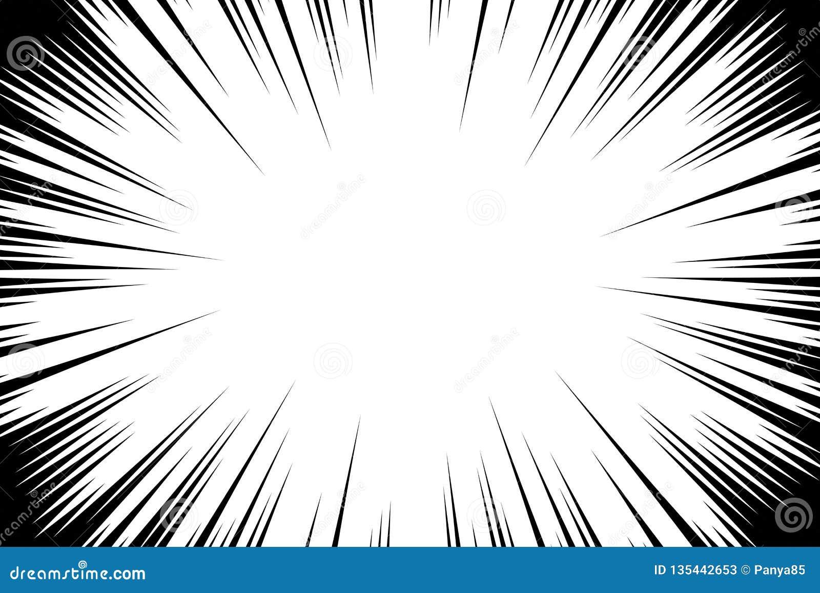 Ακτινωτό υπόβαθρο γραμμών κόμικς Πλαίσιο ταχύτητας Manga Διανυσματική απεικόνιση έκρηξης Αφηρημένο σκηνικό ακτίνων έκρηξης ή ήλιω