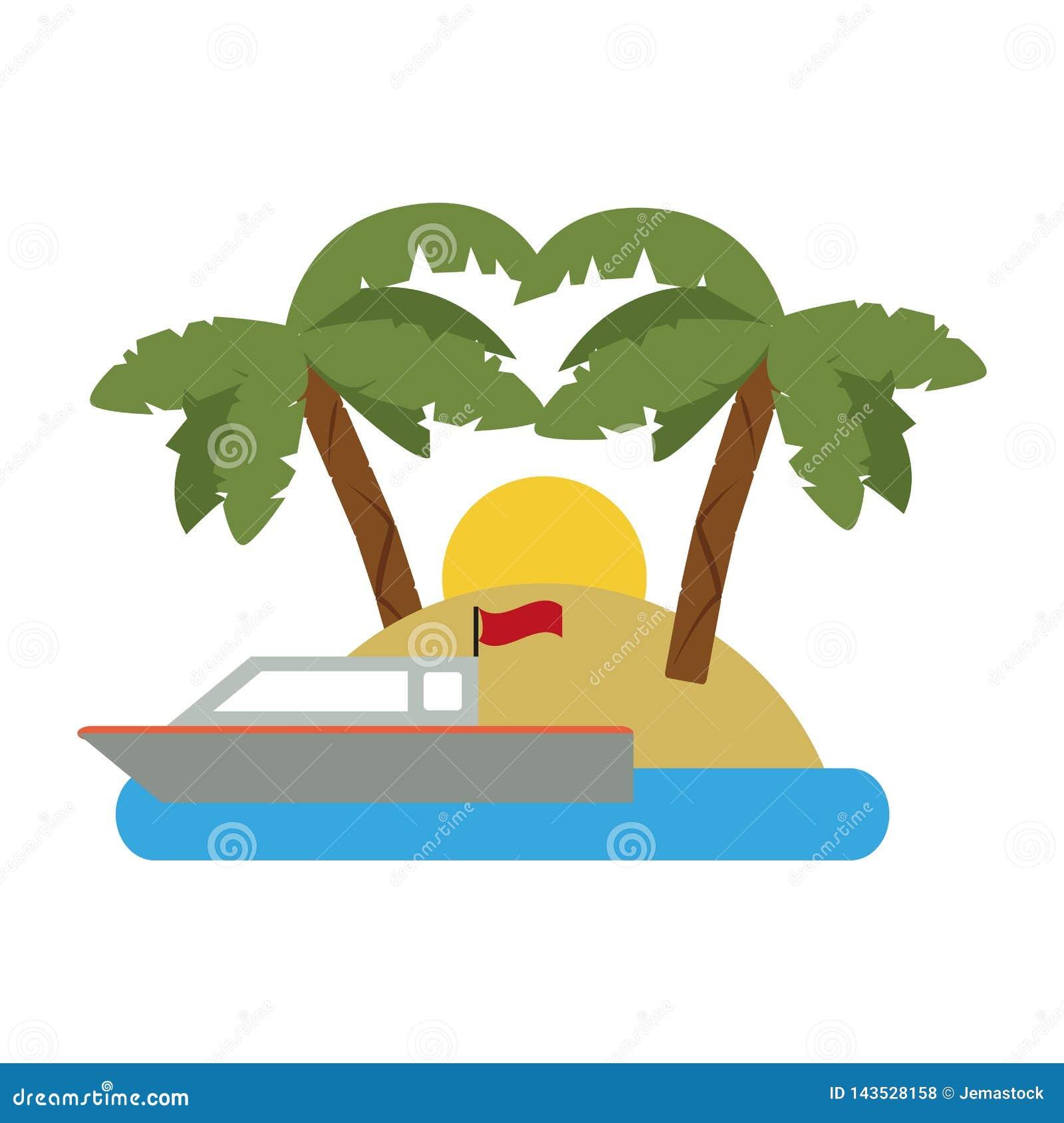 Αλιευτικό σκάφος που περνά από το νησί
