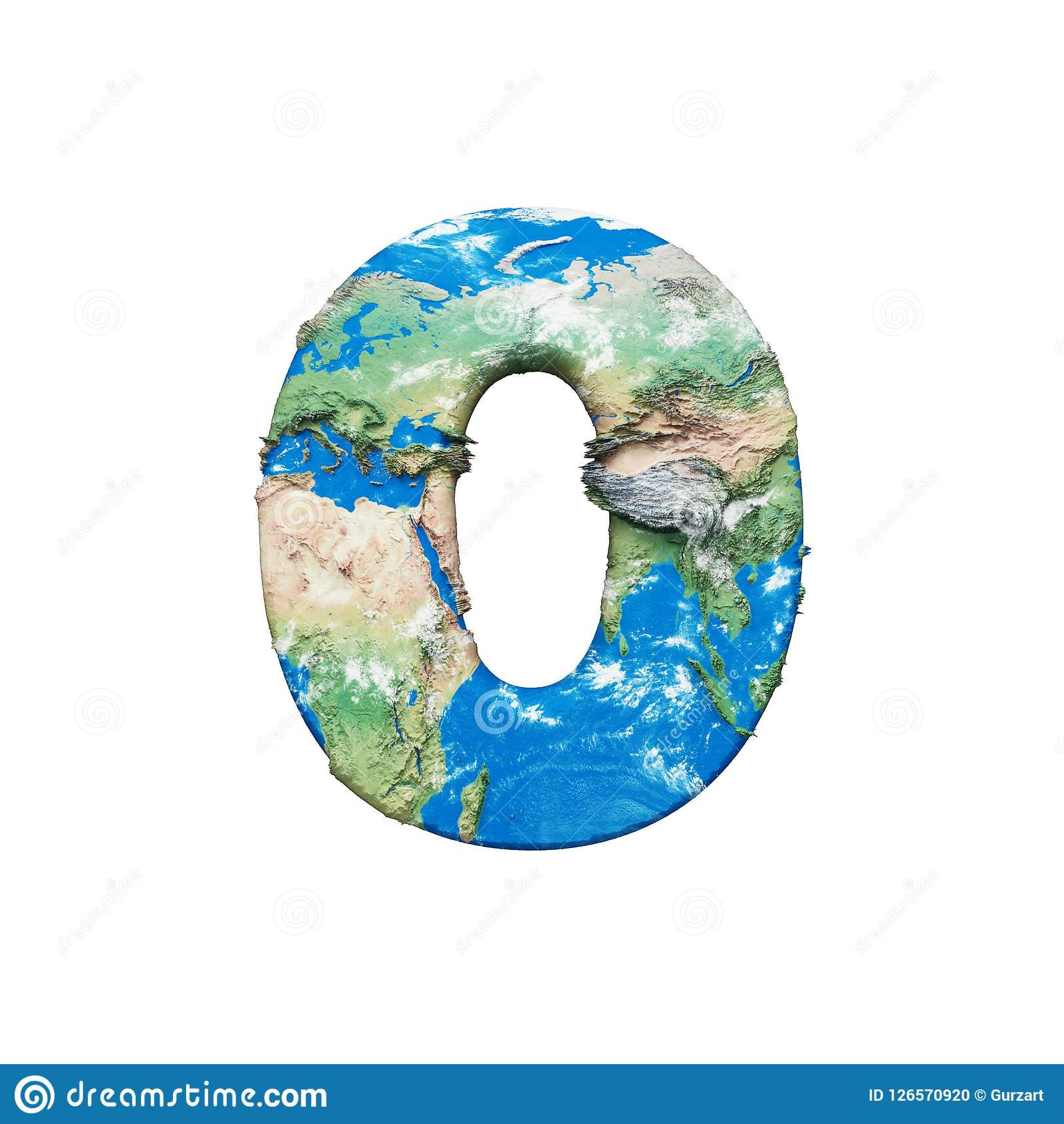 Αλφάβητο αριθμός 0 σφαιρών παγκόσμιας γης Σφαιρική παγκόσμια πηγή με το χάρτη της NASA τρισδιάστατος δώστε απομονωμένος στην άσπρ