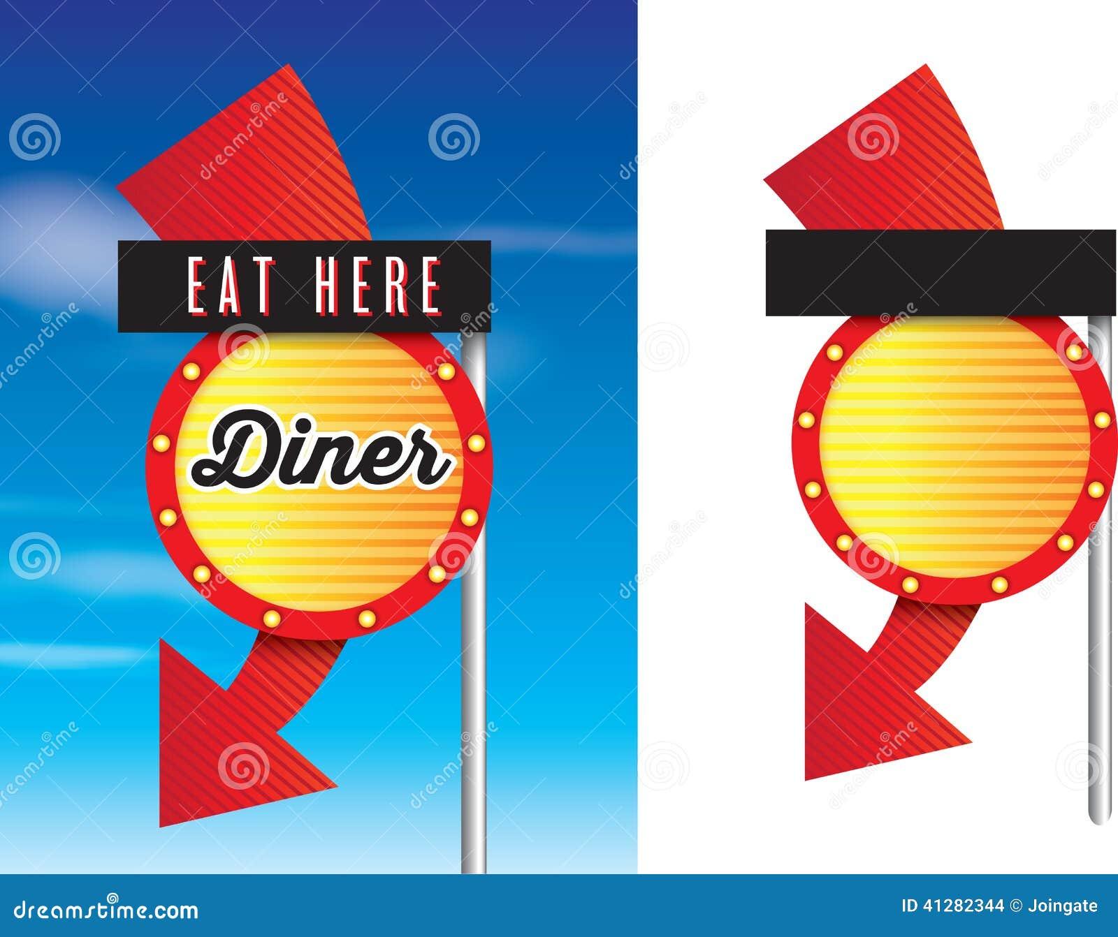 Αμερικανικά σημάδια γευματιζόντων της δεκαετίας του  50 ύφους αναδρομικά εκλεκτής ποιότητας