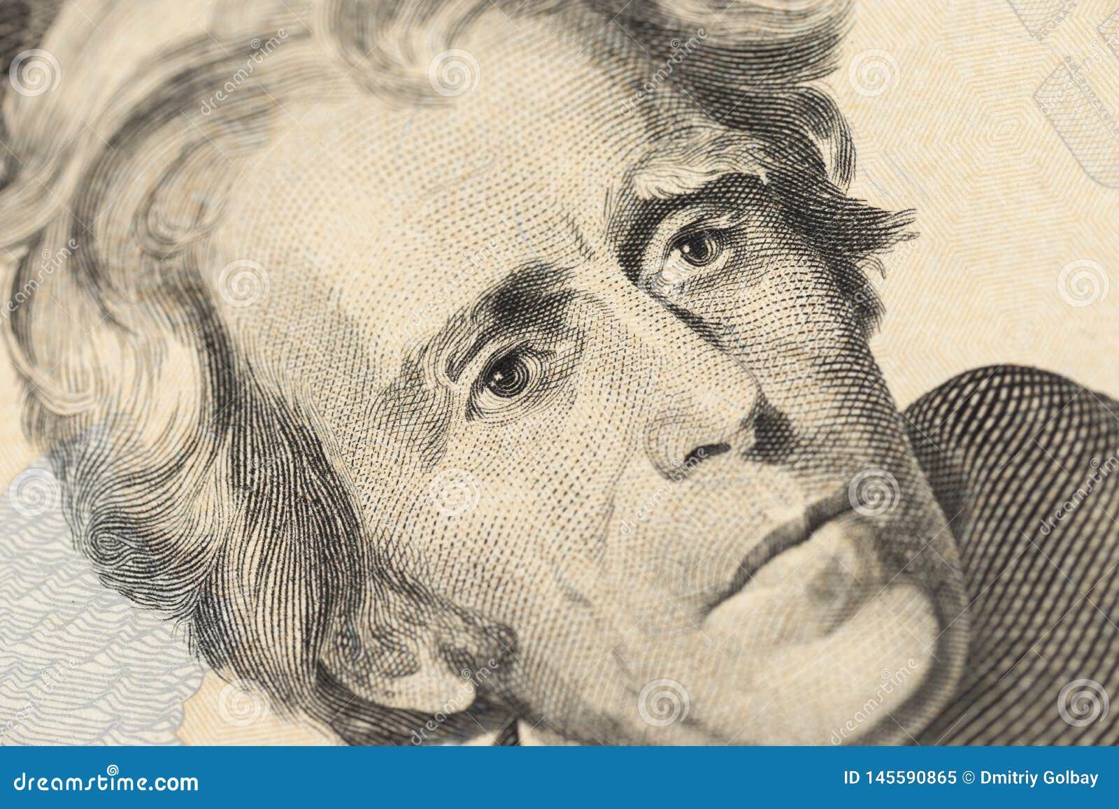 Αμερικανικά χρήματα κινηματογραφήσεων σε πρώτο πλάνο λογαριασμός είκοσι δολαρίων Πορτρέτο του Andrew Τζάκσον, ΗΠΑ μακροεντολή τεμ