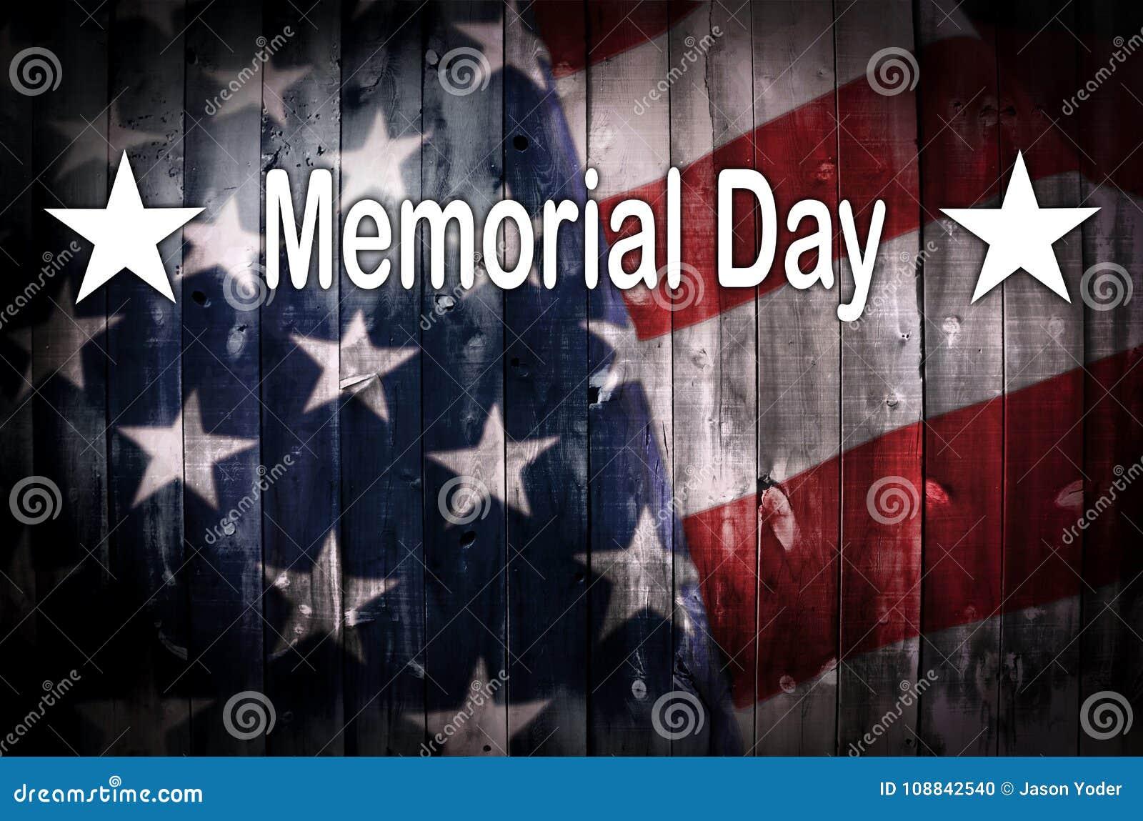 Αμερικανική σημαία ημέρας μνήμης στο ξύλο